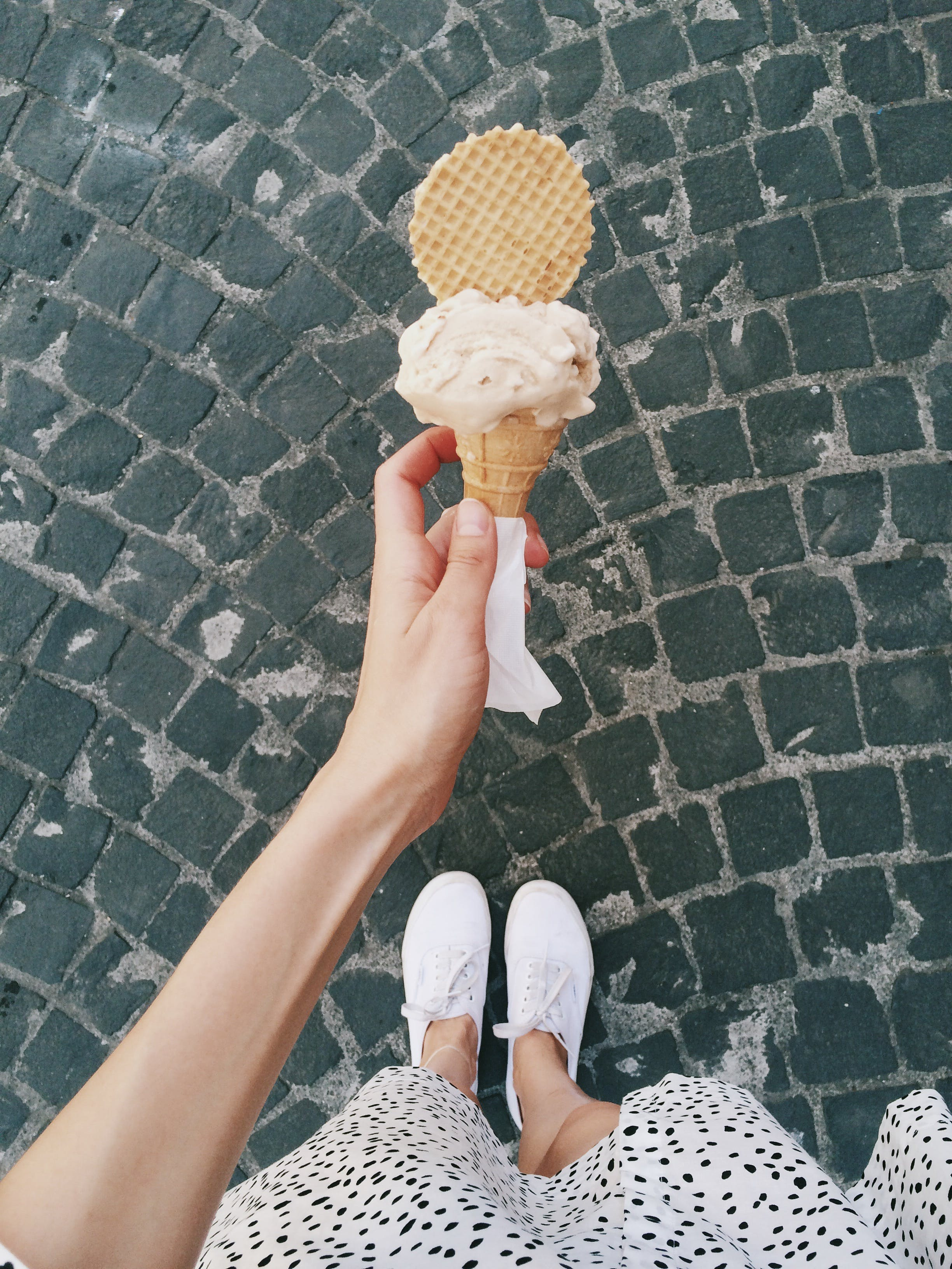 Person Holding Ice Cream in Cone