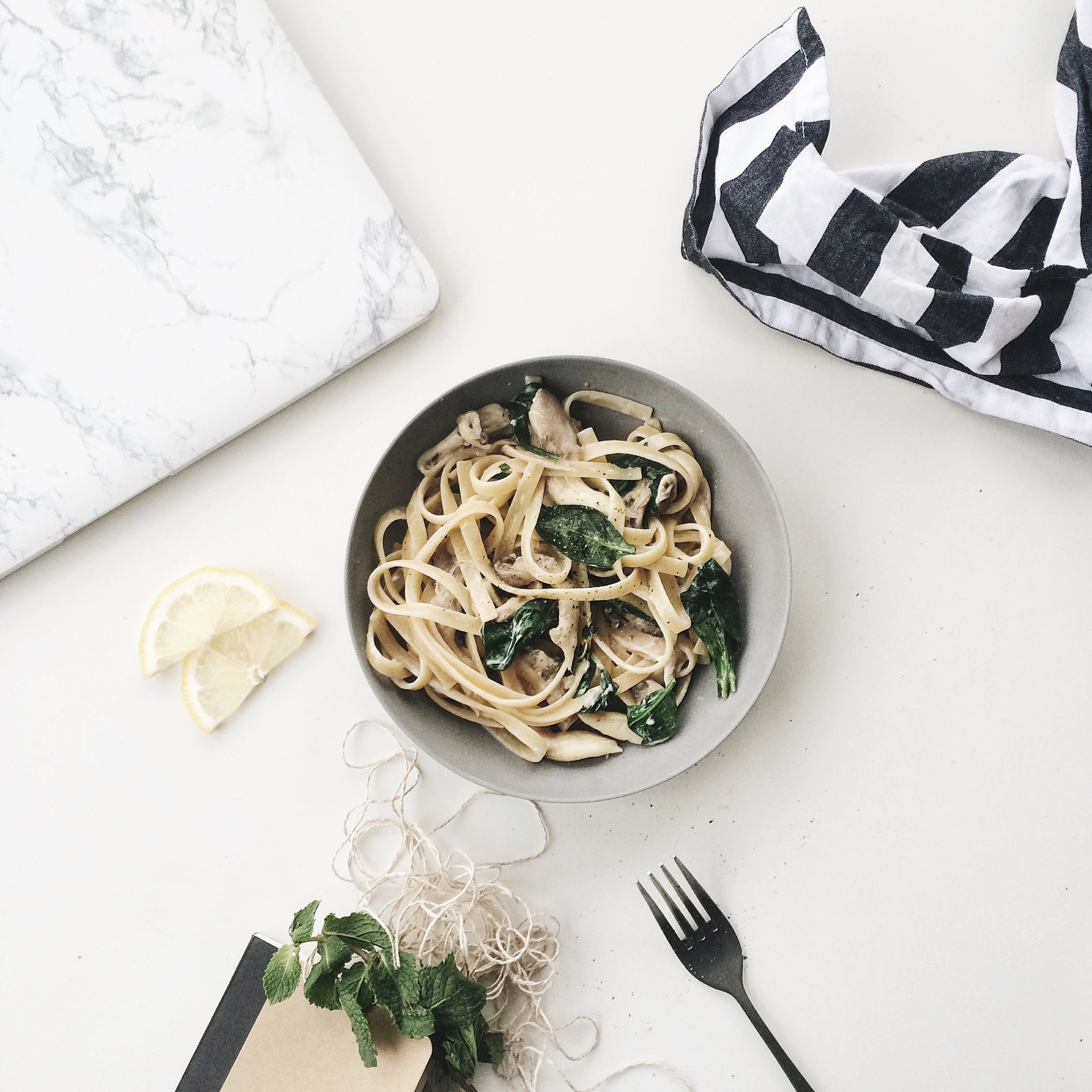 Carbonara in Gray Bowl