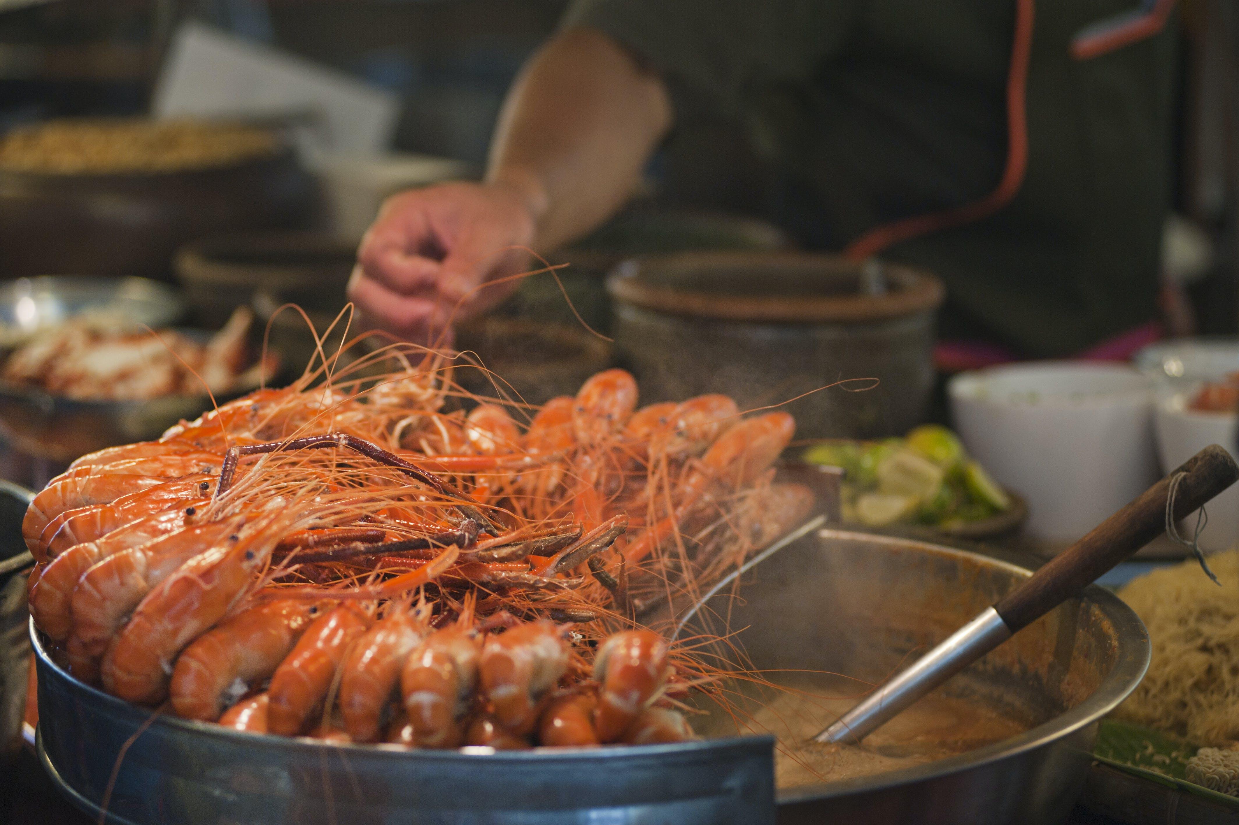 Shrimp on Round Gray Metal Pot