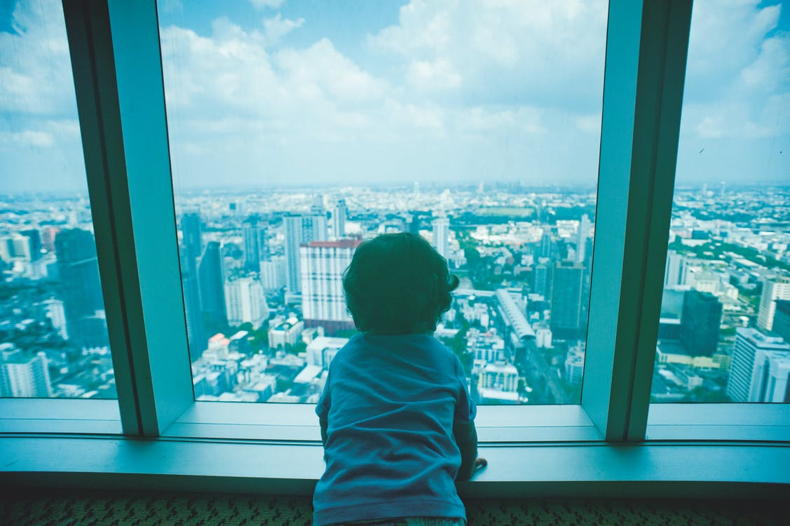 Toddler Looking Through Clear Glass Window