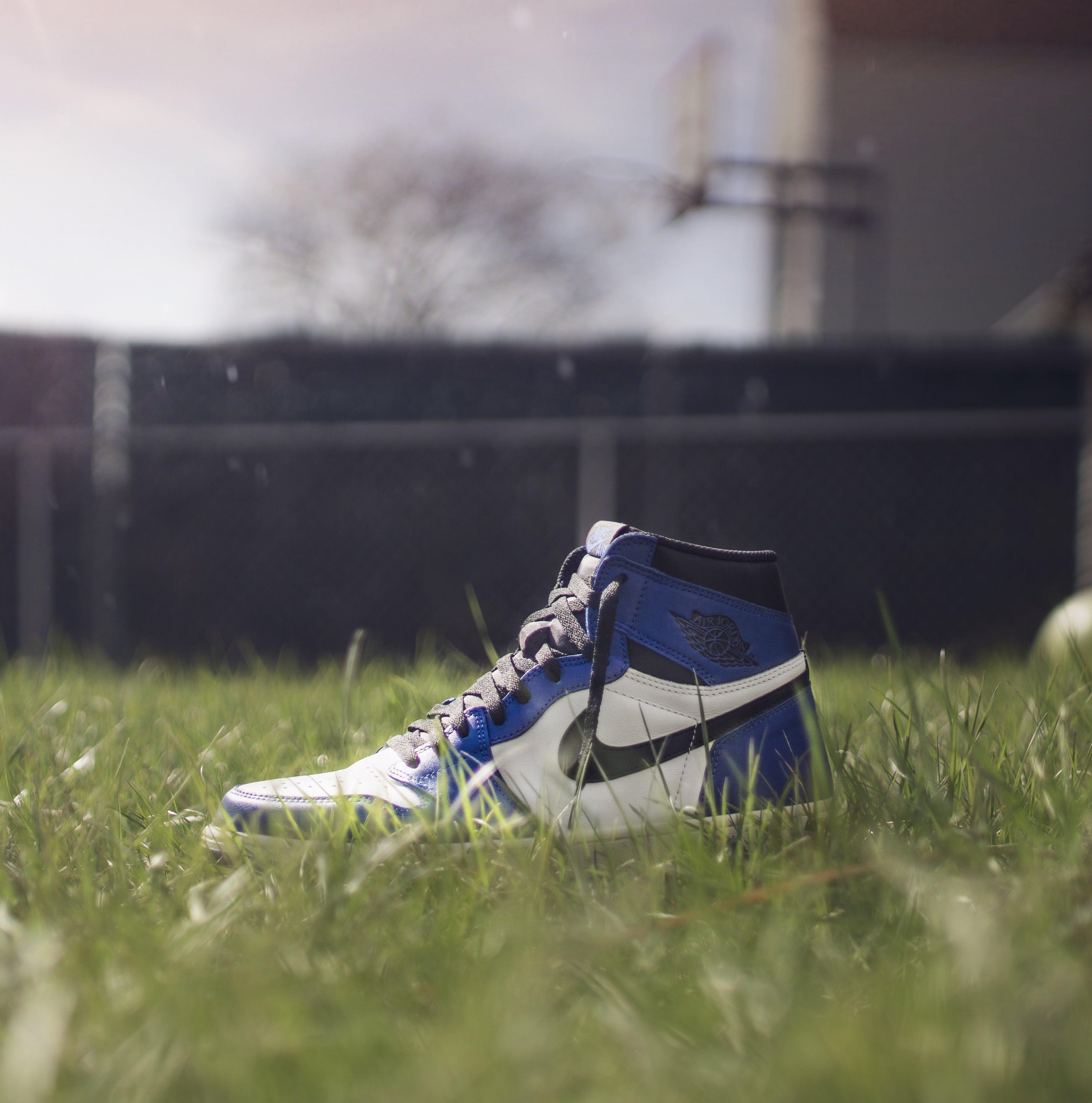 Selective Focus Photography of Air Jordan 1 On Grass