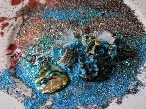 Immagine gratuita di arte astratta turchese, brillante, glam, glitter turchese