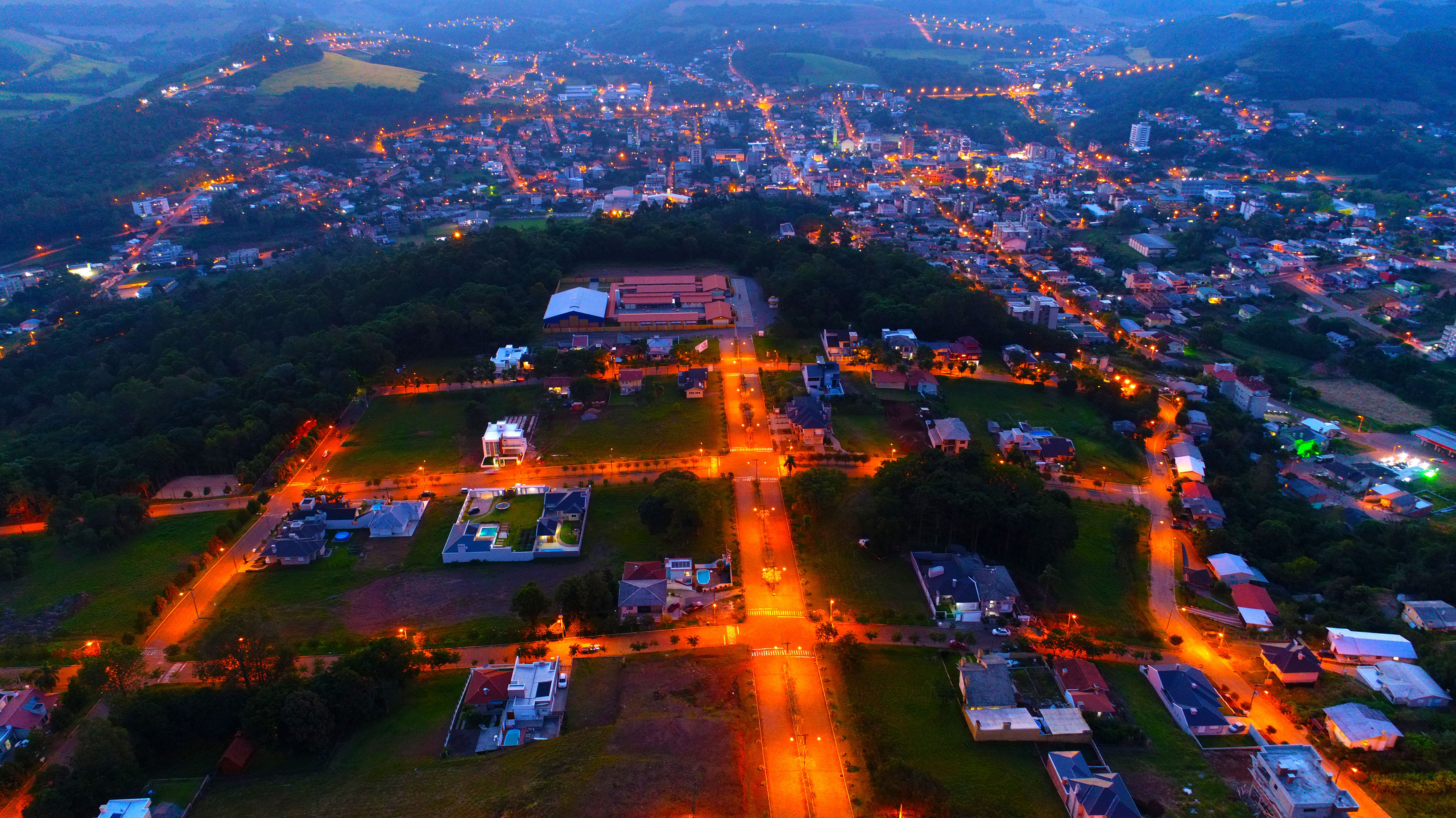 Aerial Photography of Lighted Houses Taken during Nighttime