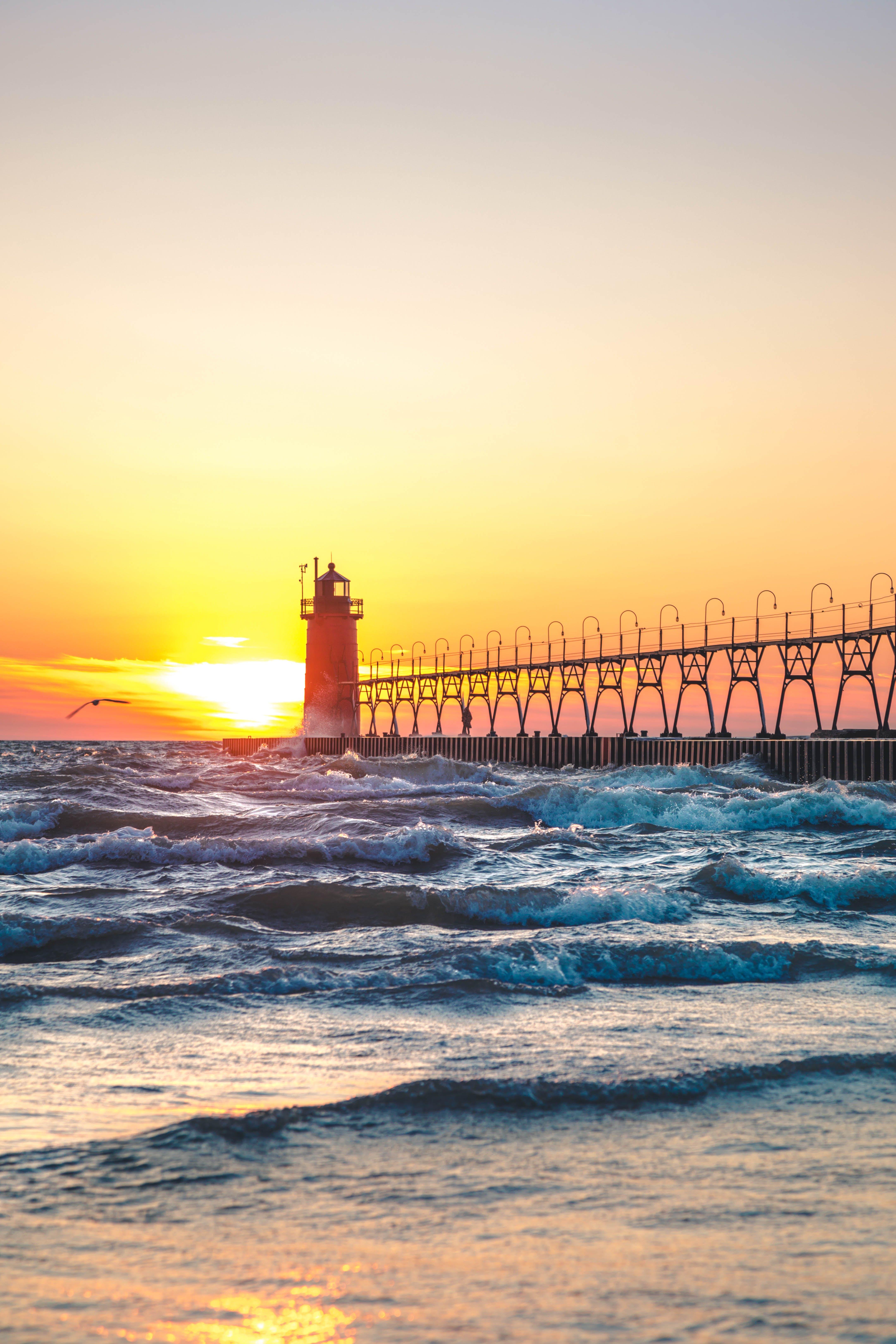 Gratis lagerfoto af bølger, fredelig, fyrtårn, hav