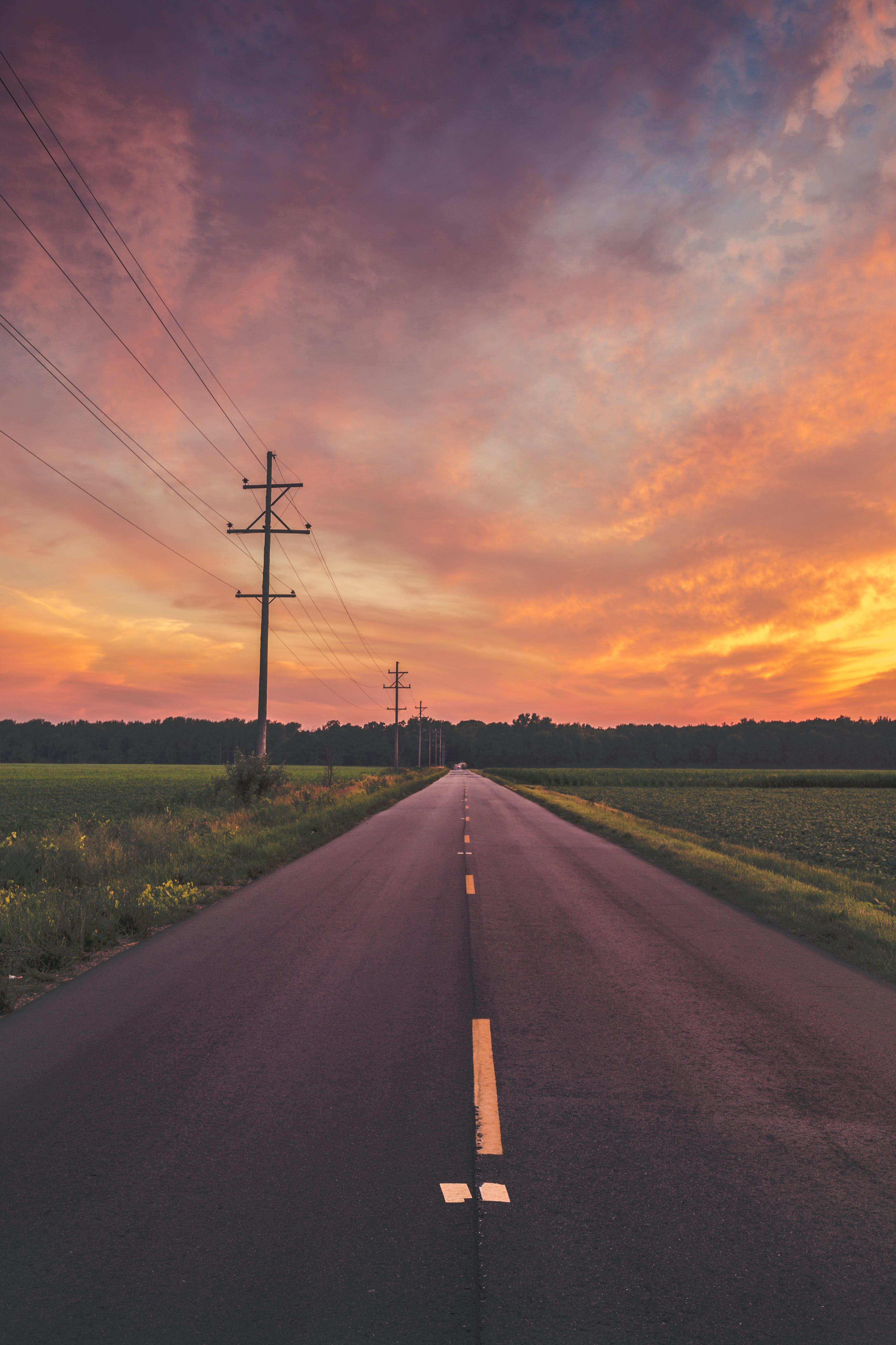 Kostenloses Stock Foto zu abend, asphalt, außerorts, bäume