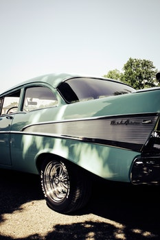 Green Classic Car during Datime