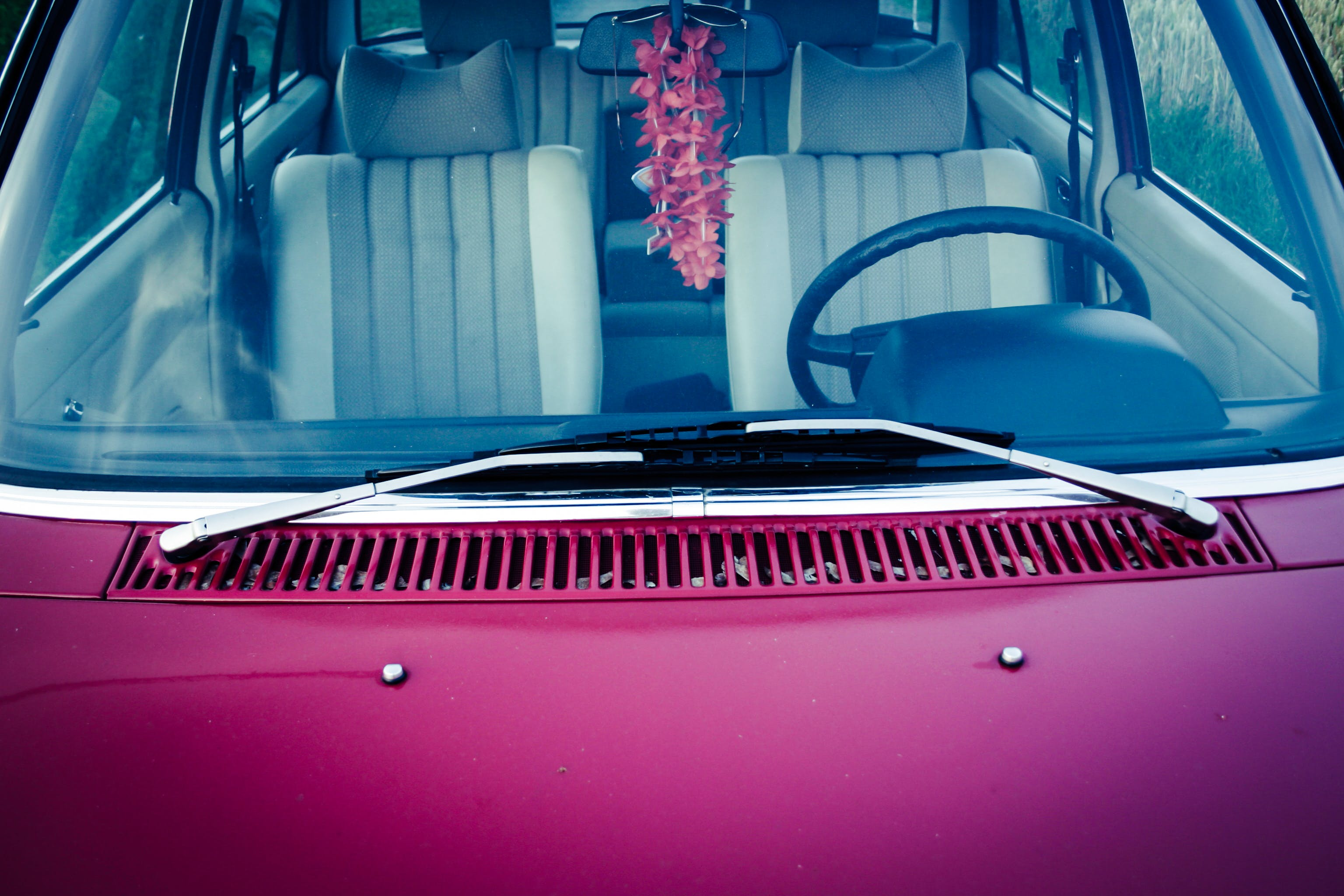 Purple Car Hood With Stainless Steel Window Wiper
