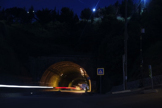 Time Laps Photography of Car Tunnel With Trees during Night Time