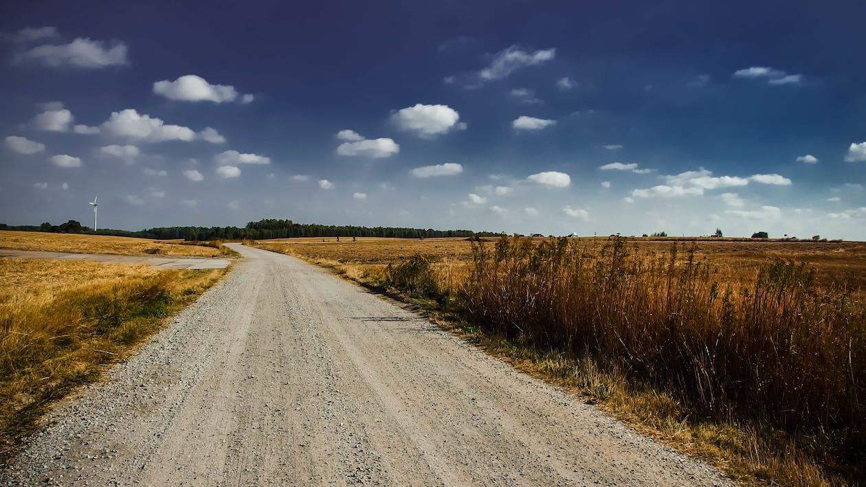 bầu trời, cối xay gió, đường