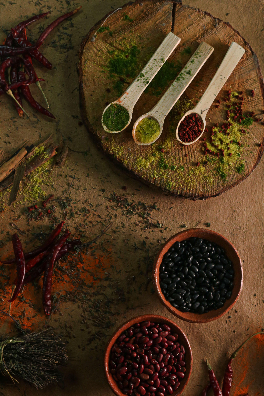 Kostenloses Stock Foto zu aromatisch, bohnen, chili, flatlay