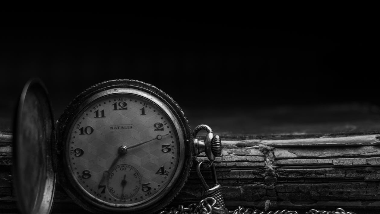 analógový, čas, čiernobiely