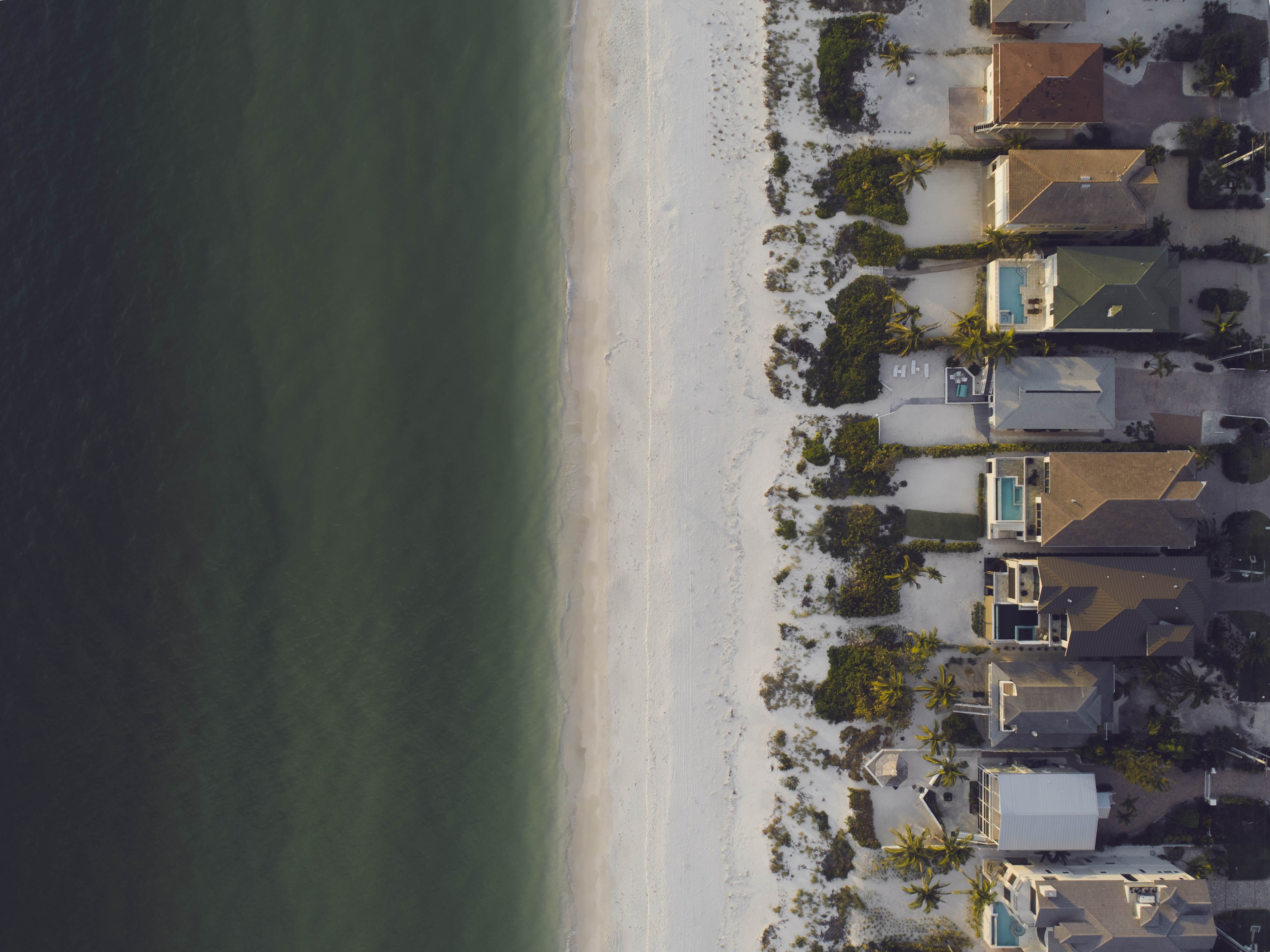 High-angle View of Beach and Houses