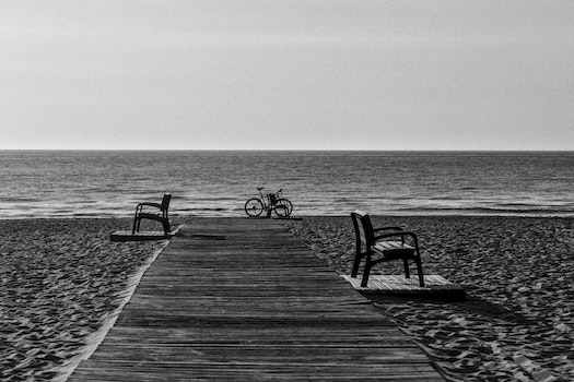 Grayscale Photo of Bicycle Beside Seashore