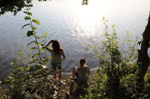 Foto profissional grátis de adulto, água, alvorecer, árvores