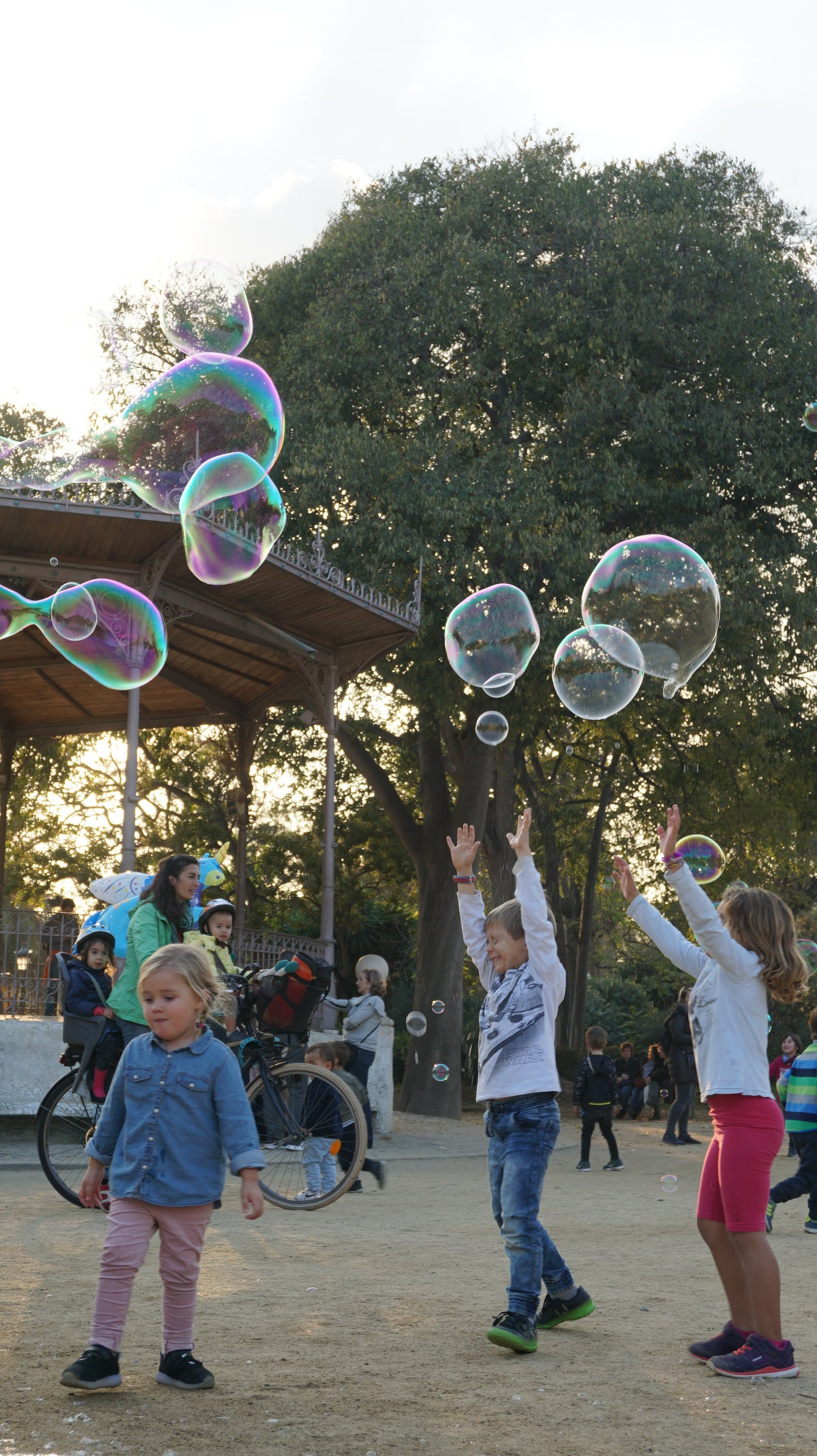 Free stock photo of happy, kids, play, soap bubbles
