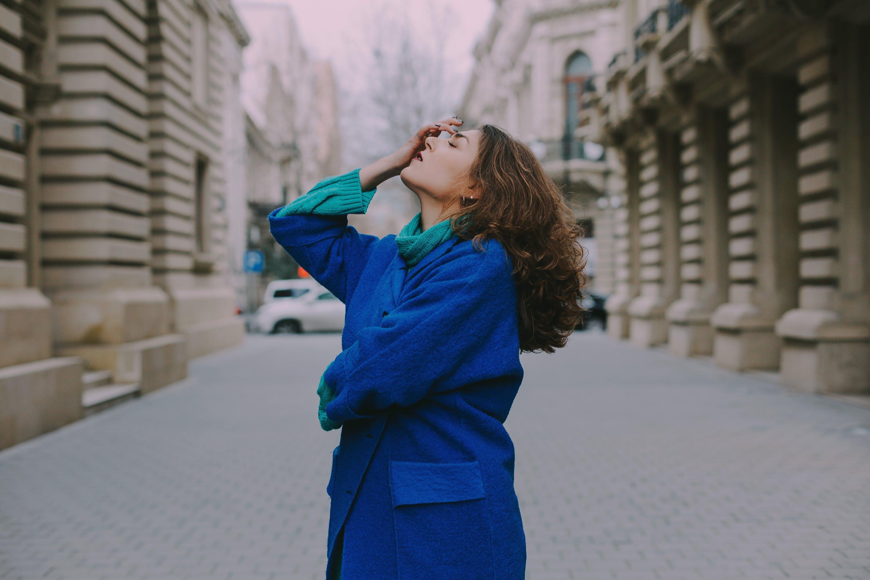 Woman Wearing Blue Coat