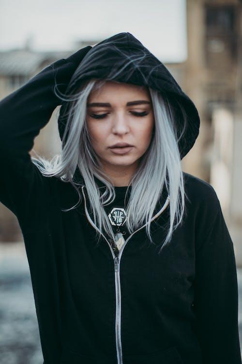 Woman in Black Zip-up Hoodie and Blonde Hair