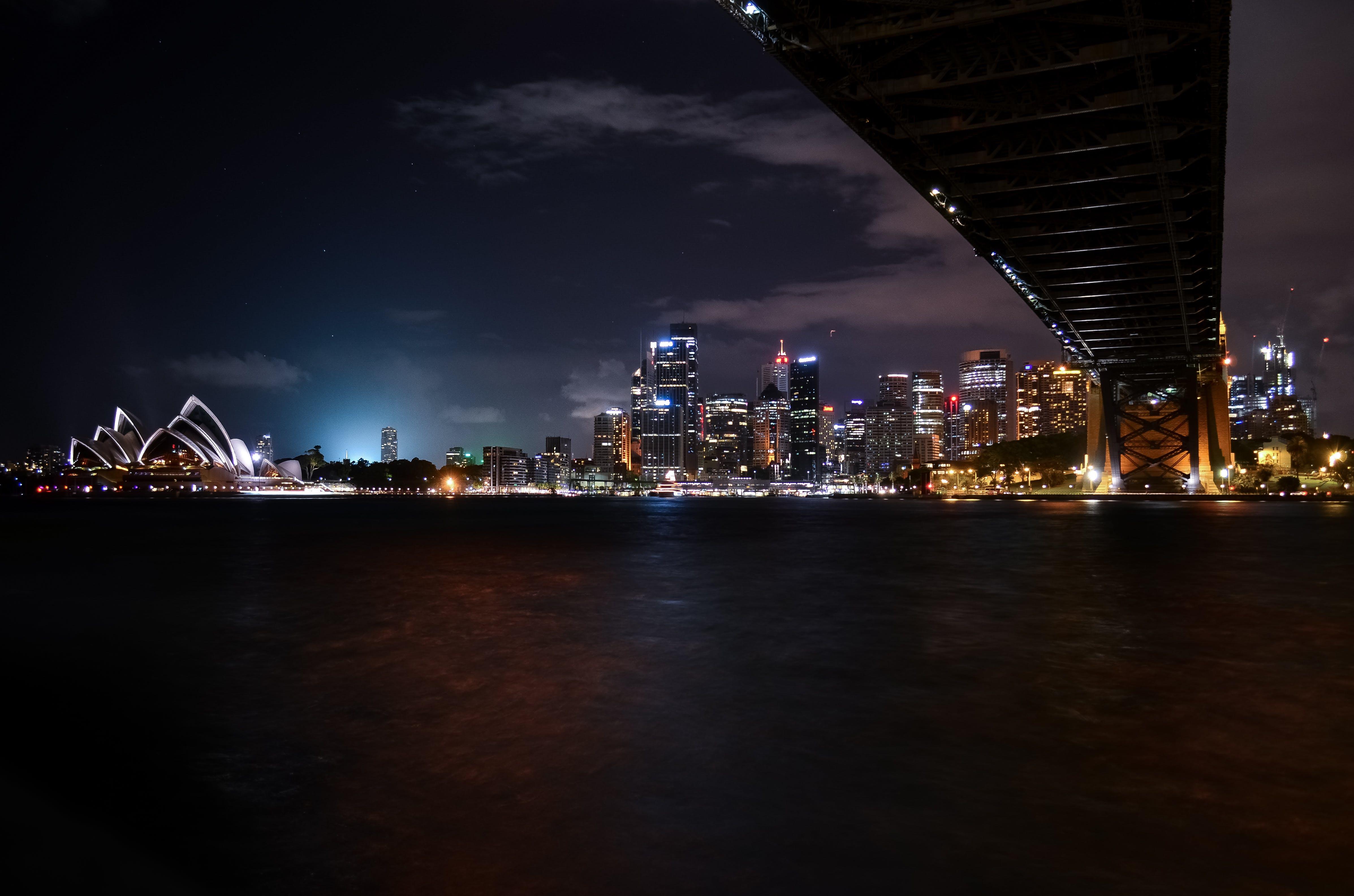 a tengernél, Ausztrália, éjszaka