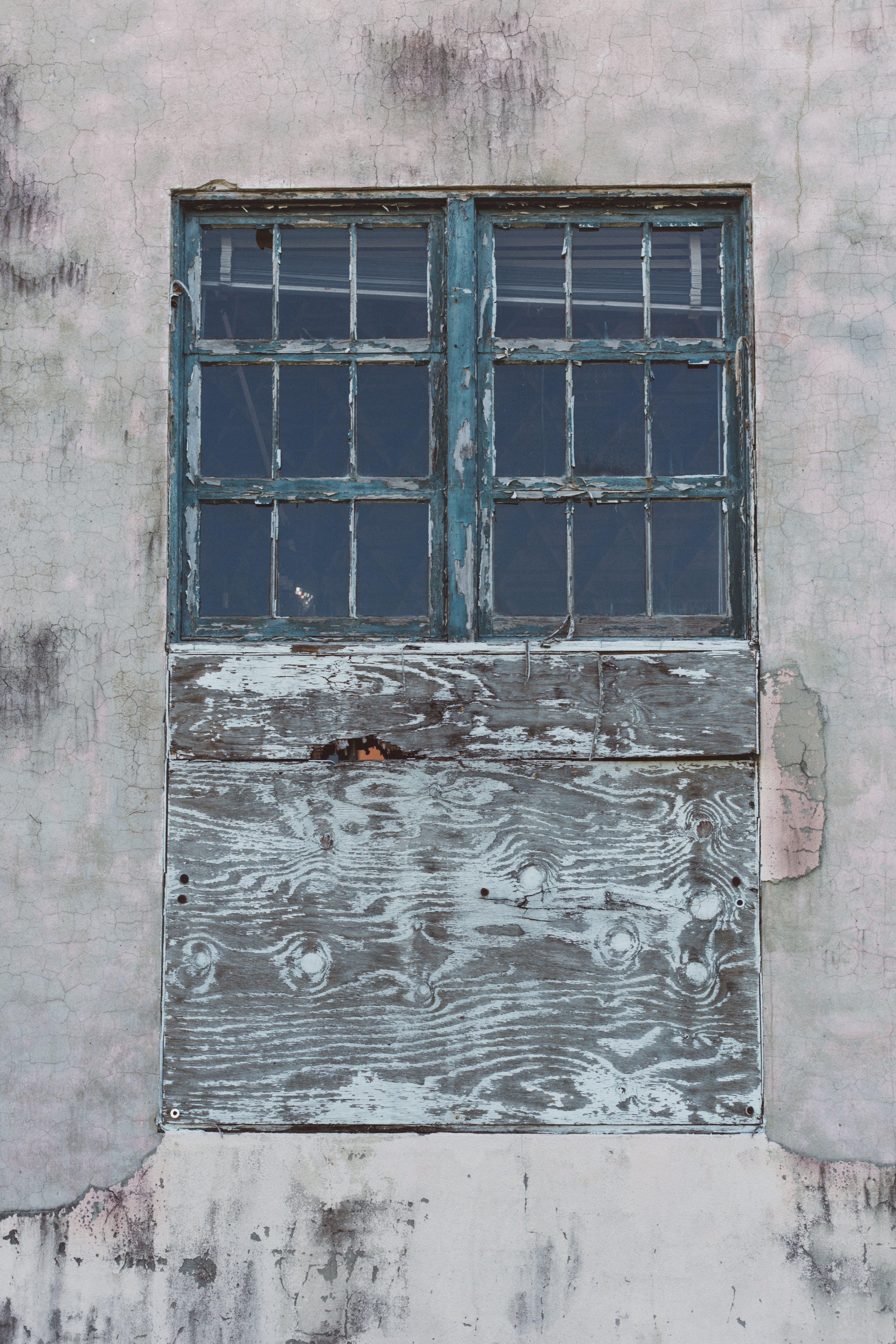 Blue Wooden Window Frame