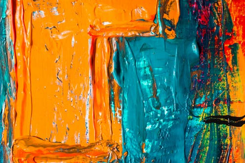 Orange and Blue Abstract Painting