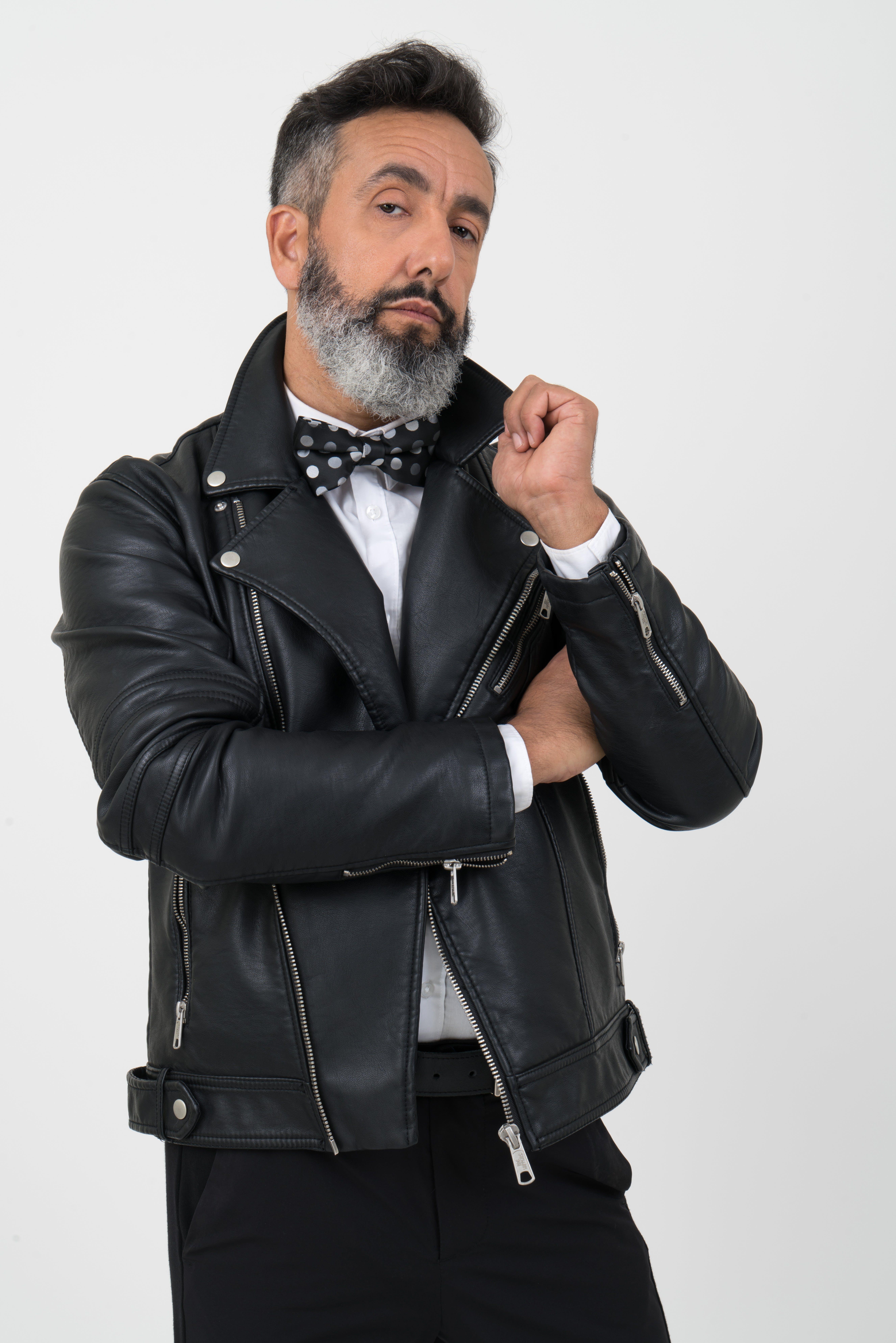 Men's Black Leather Zip-up Jacket