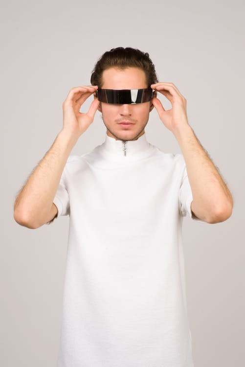 Man Wearing White Turtle-neck T-shirt