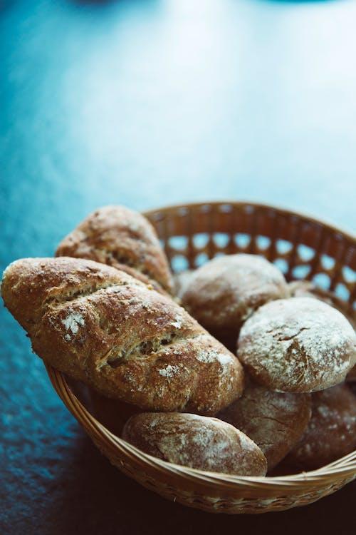 Free stock photo of basket, bread, food