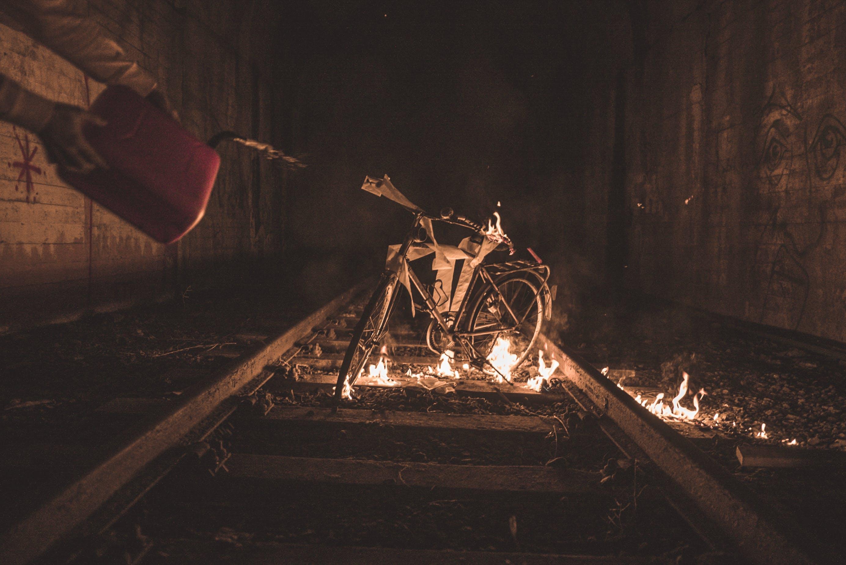 Bicycle on Flame on Train Railway