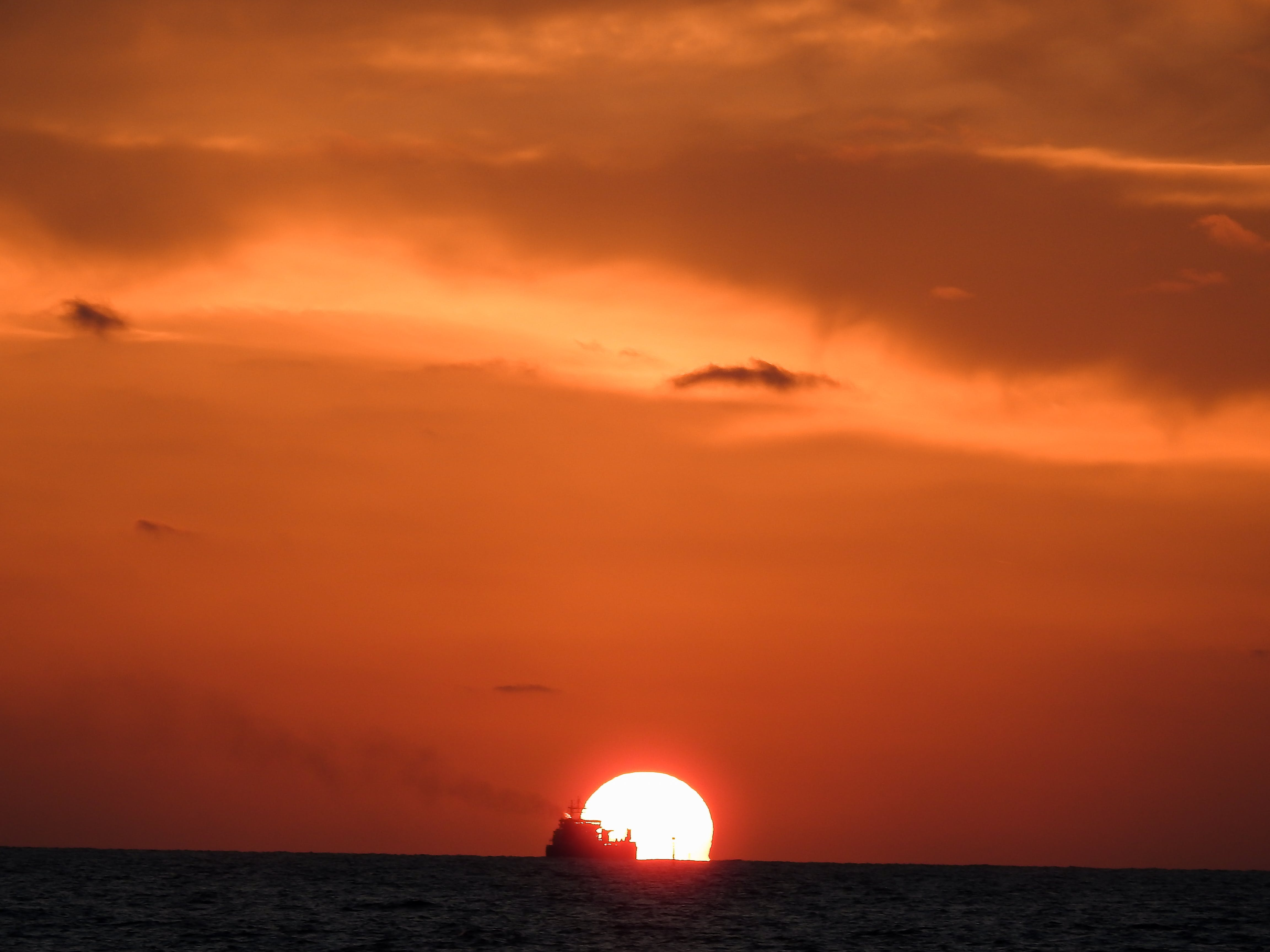 Free stock photo of cargo ship, evening sun, golden sunset, sunset