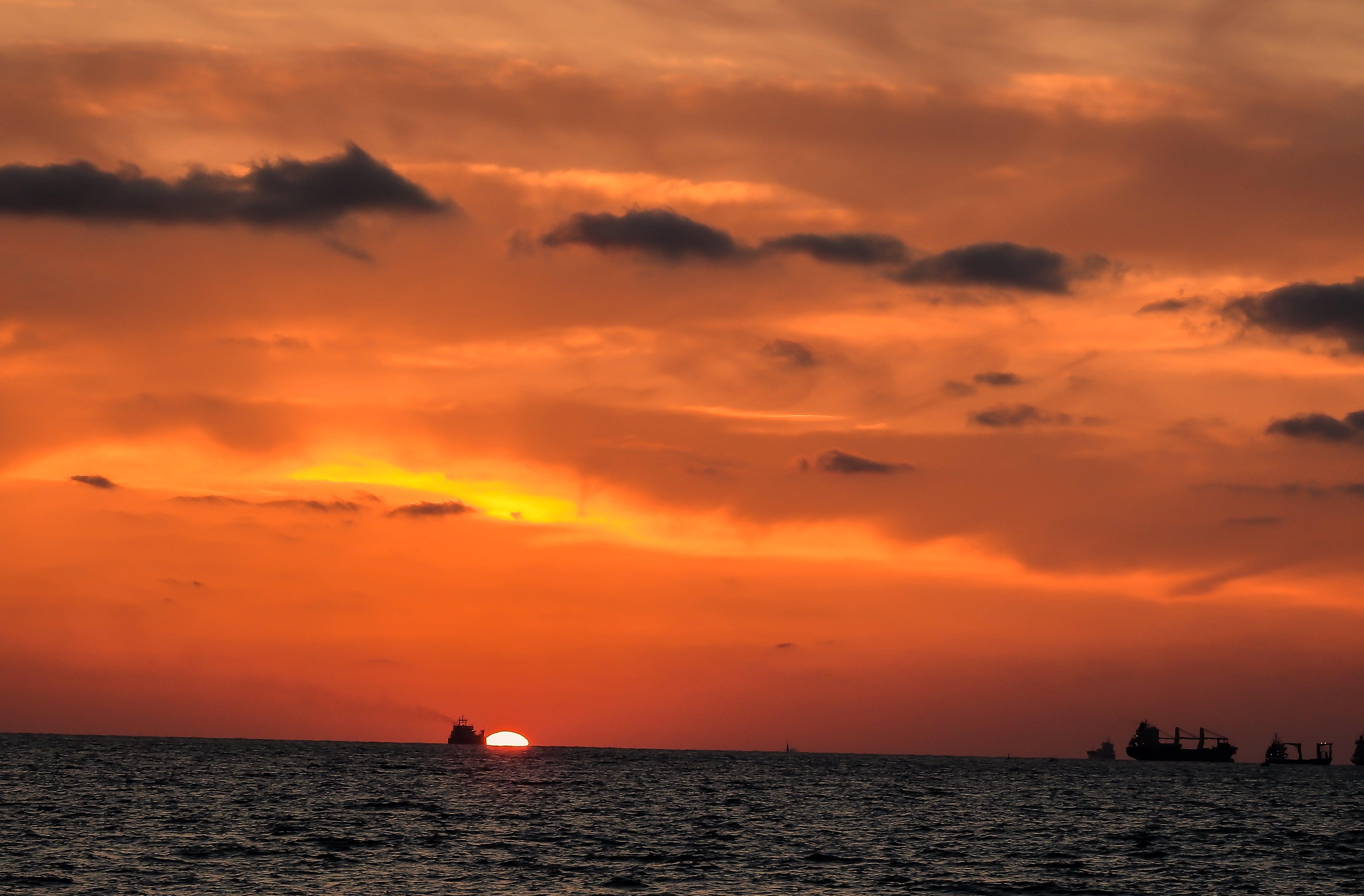 Free stock photo of cargo ship, evening sun, golden sunset, ships