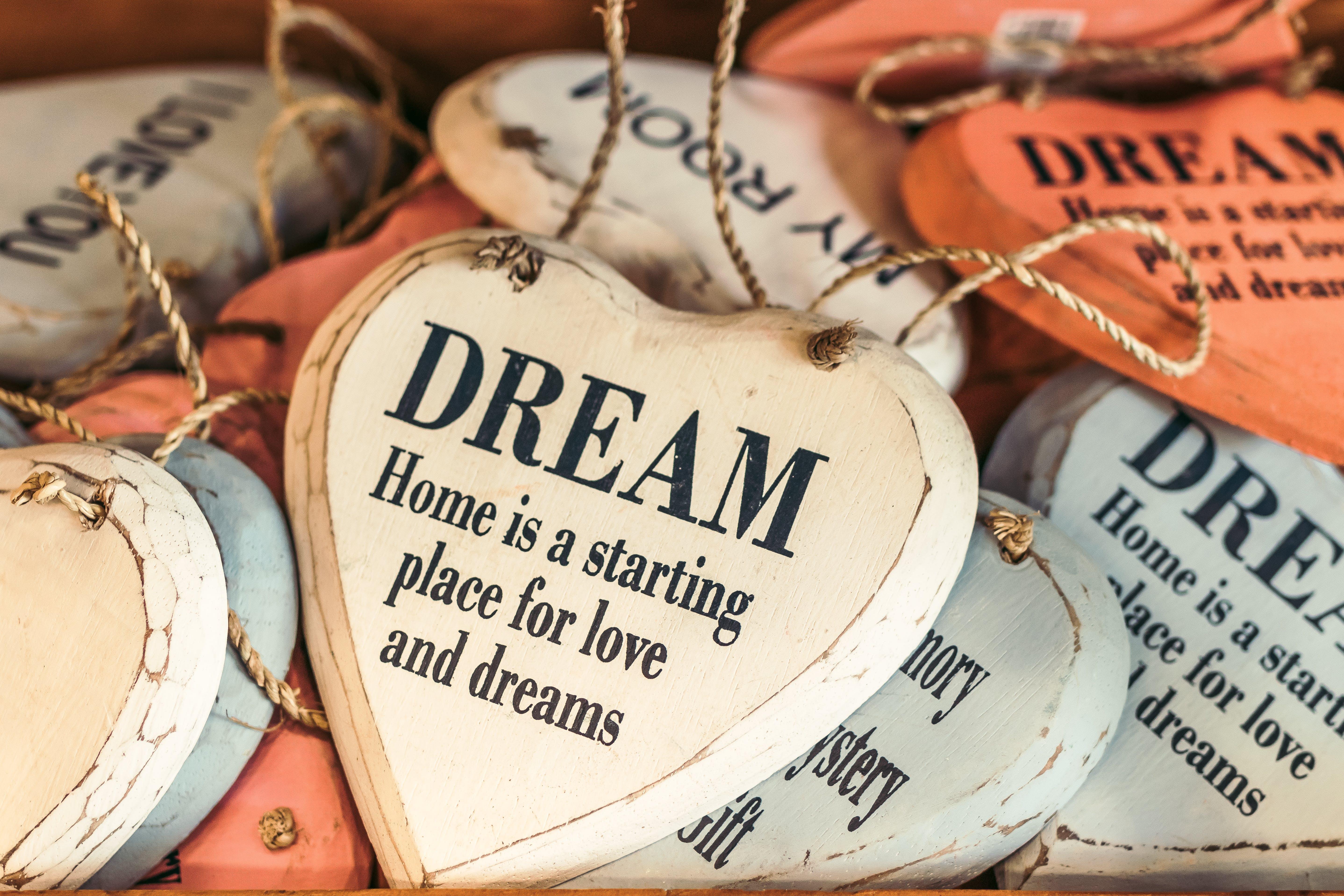 White and Orange Wooden Heart Dream Quote Decor Lot