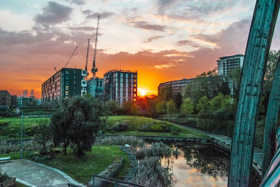 paisaje, parque de la ciudad, puesta de sol