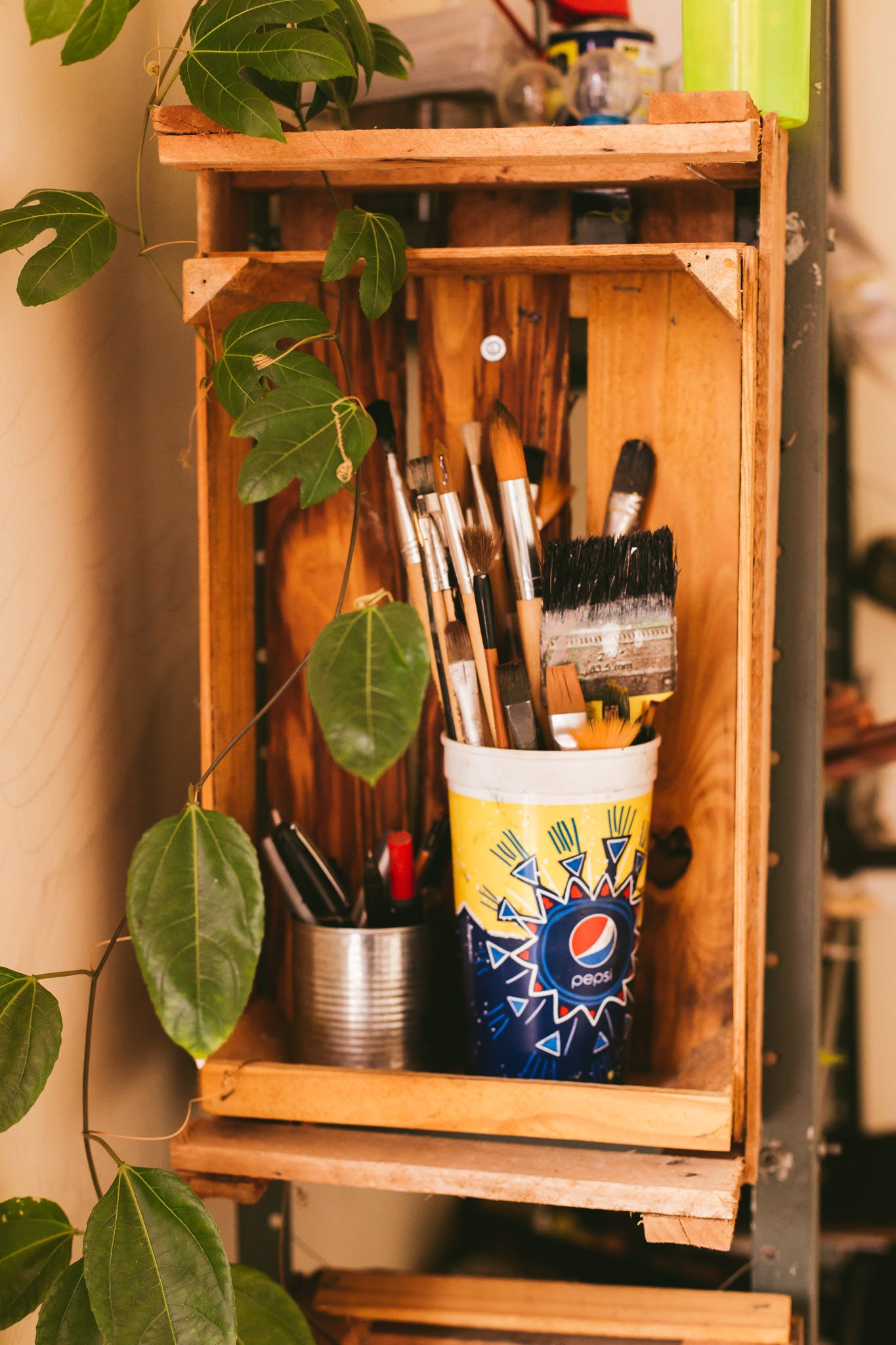 Paintbrush Set in White Container Inside Shelf