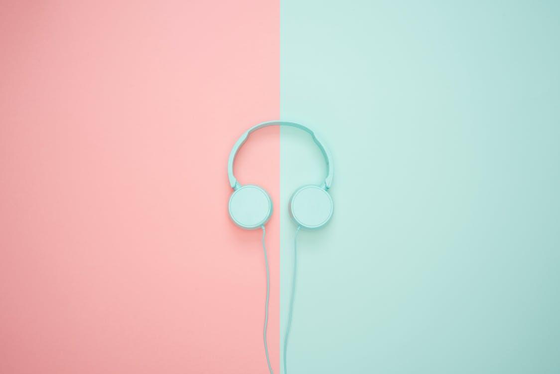 art, auriculars, blau