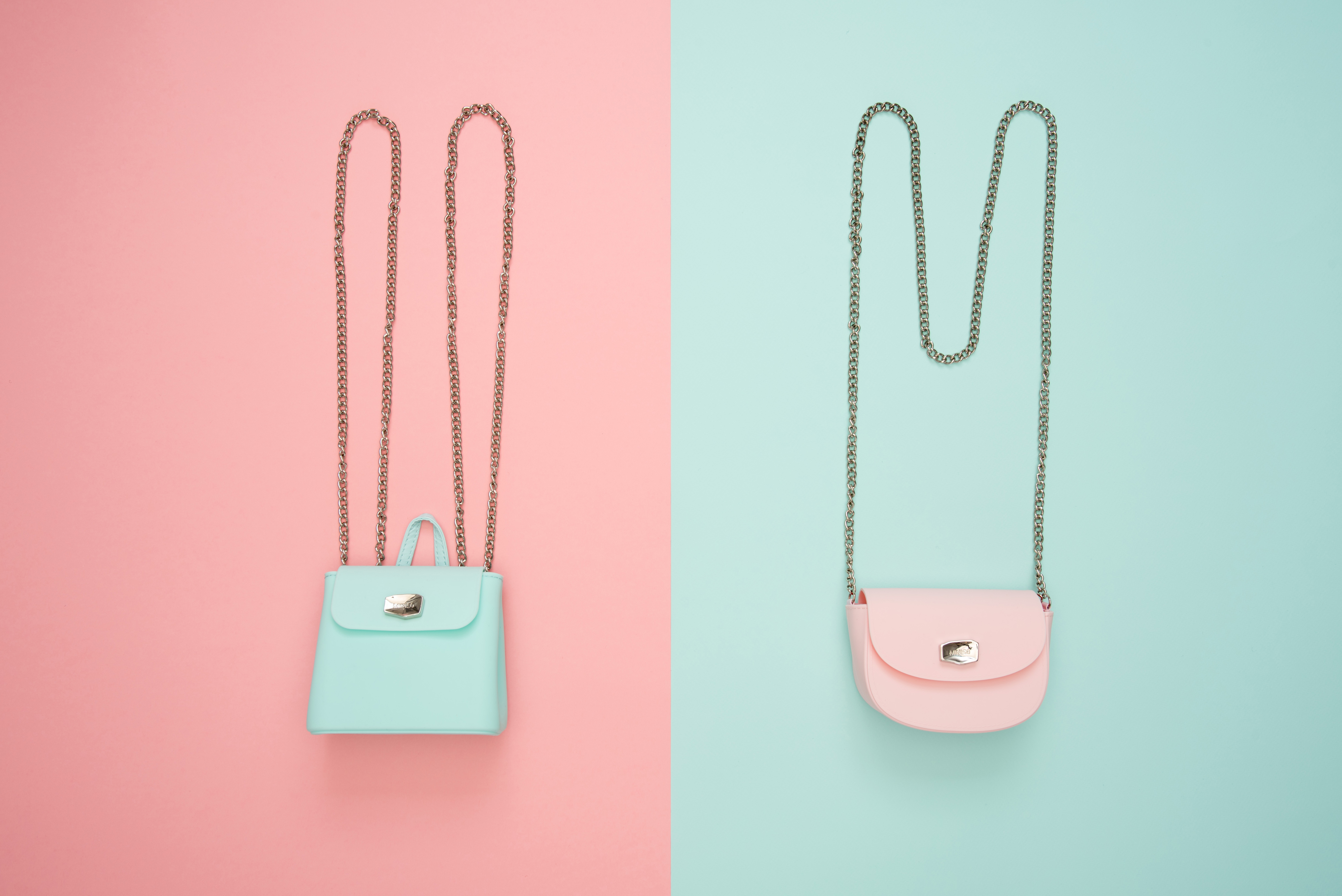 Photo of Two Teal and Pink Leather Crossbody Bags