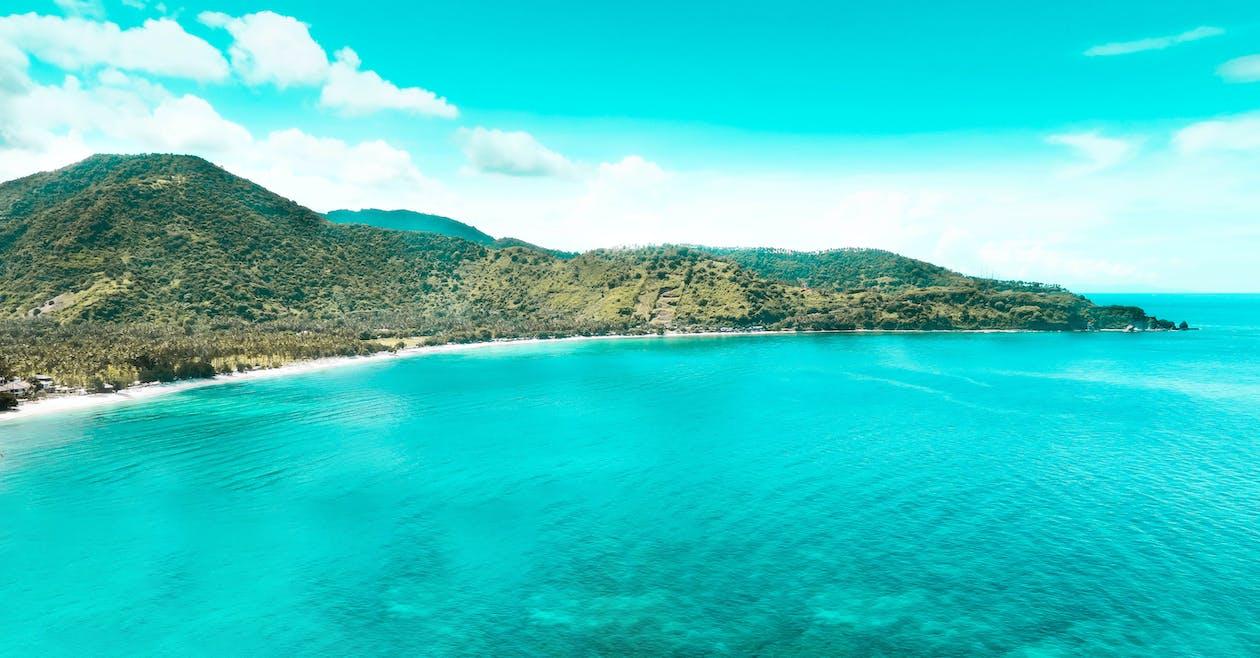 baai, berg, blauwe lucht