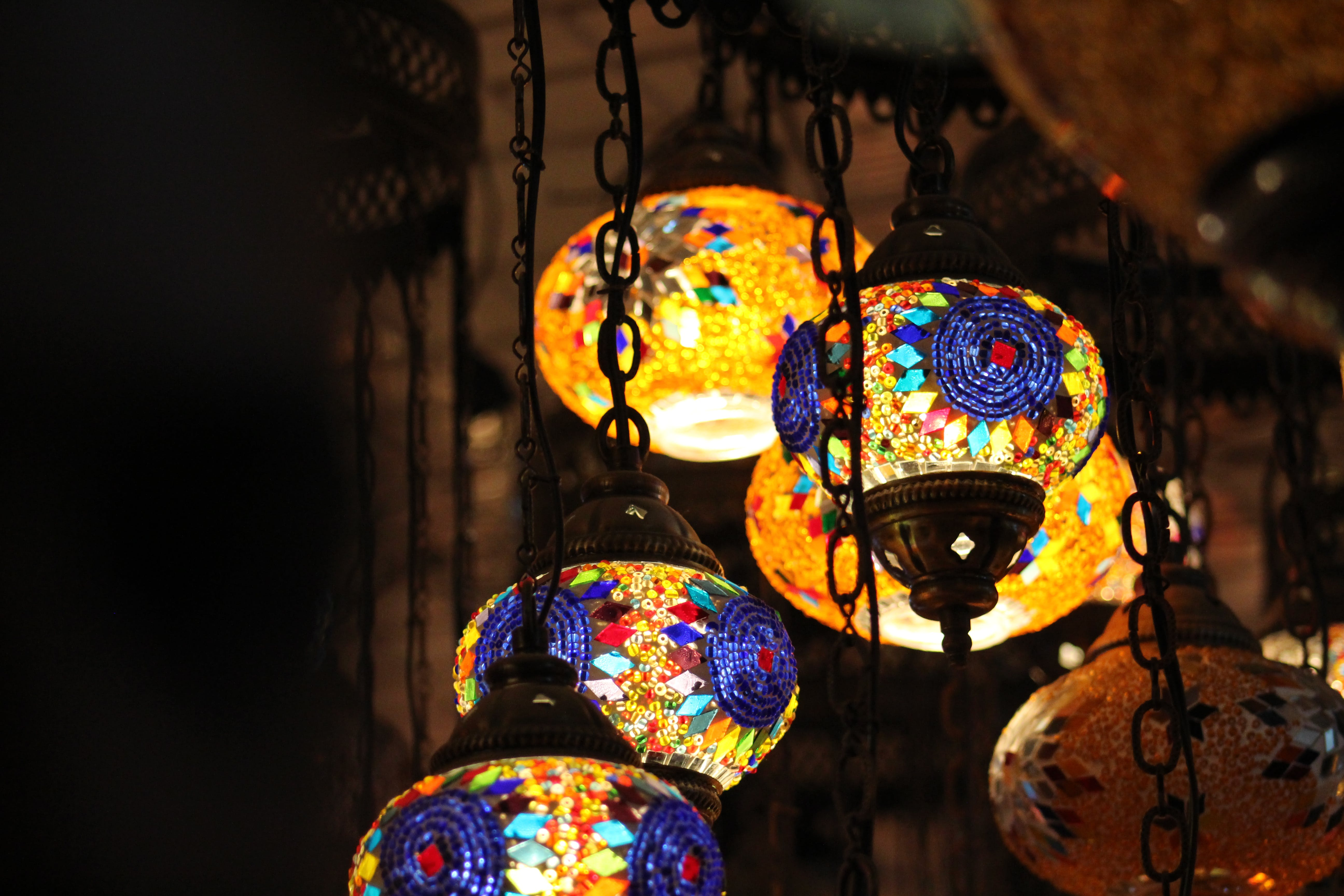 Brown Pendant Lamp Turn on