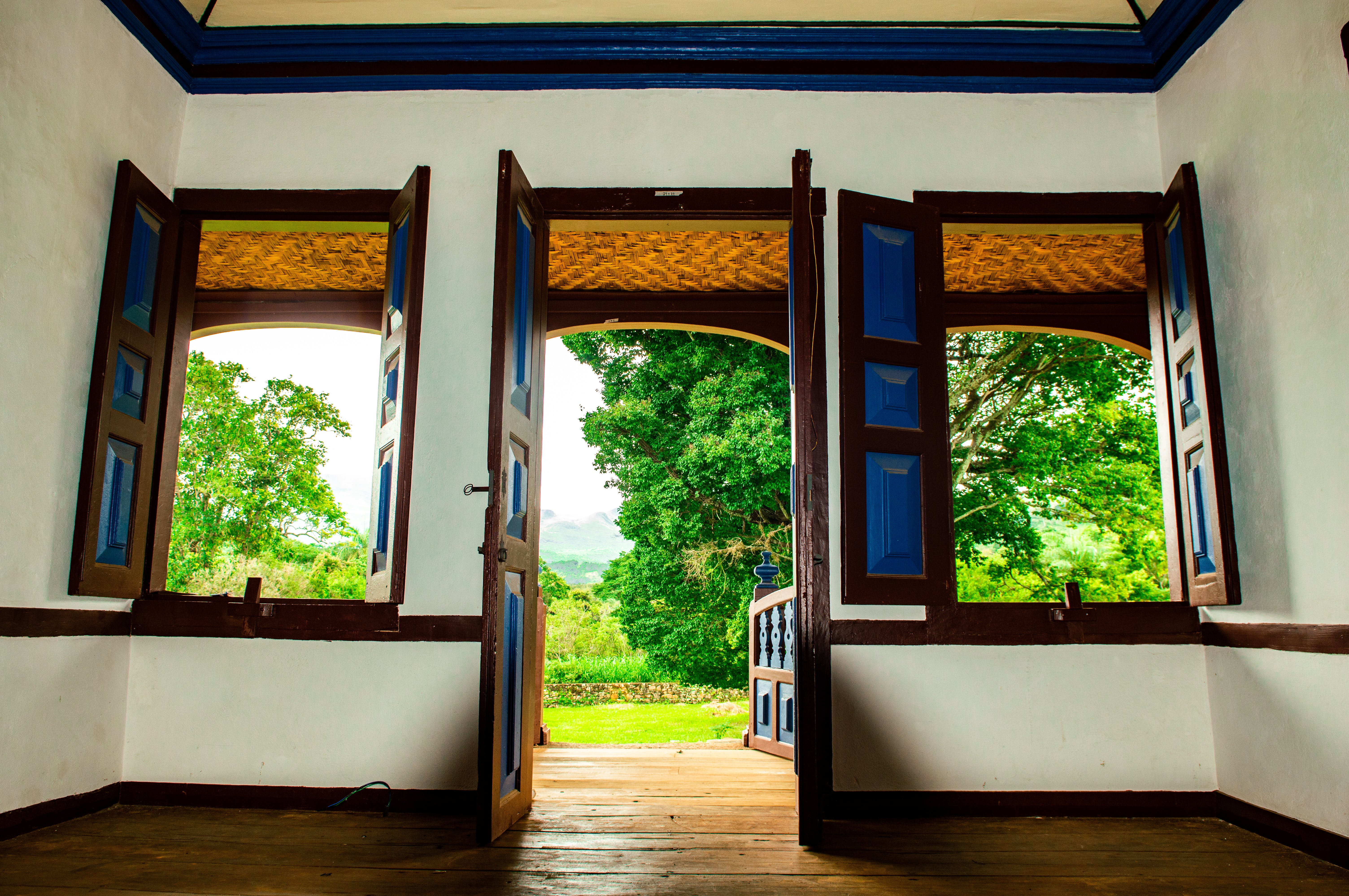 Brown Wooden Framed Windowpanes