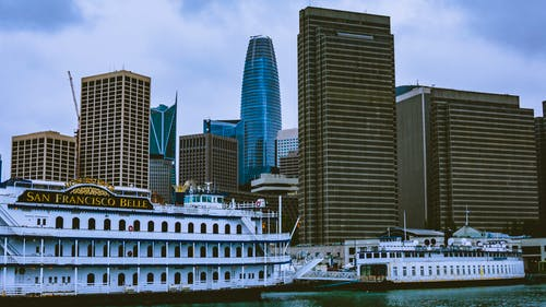 Free stock photo of boat ferry, pier, san francisco, skyscrapers