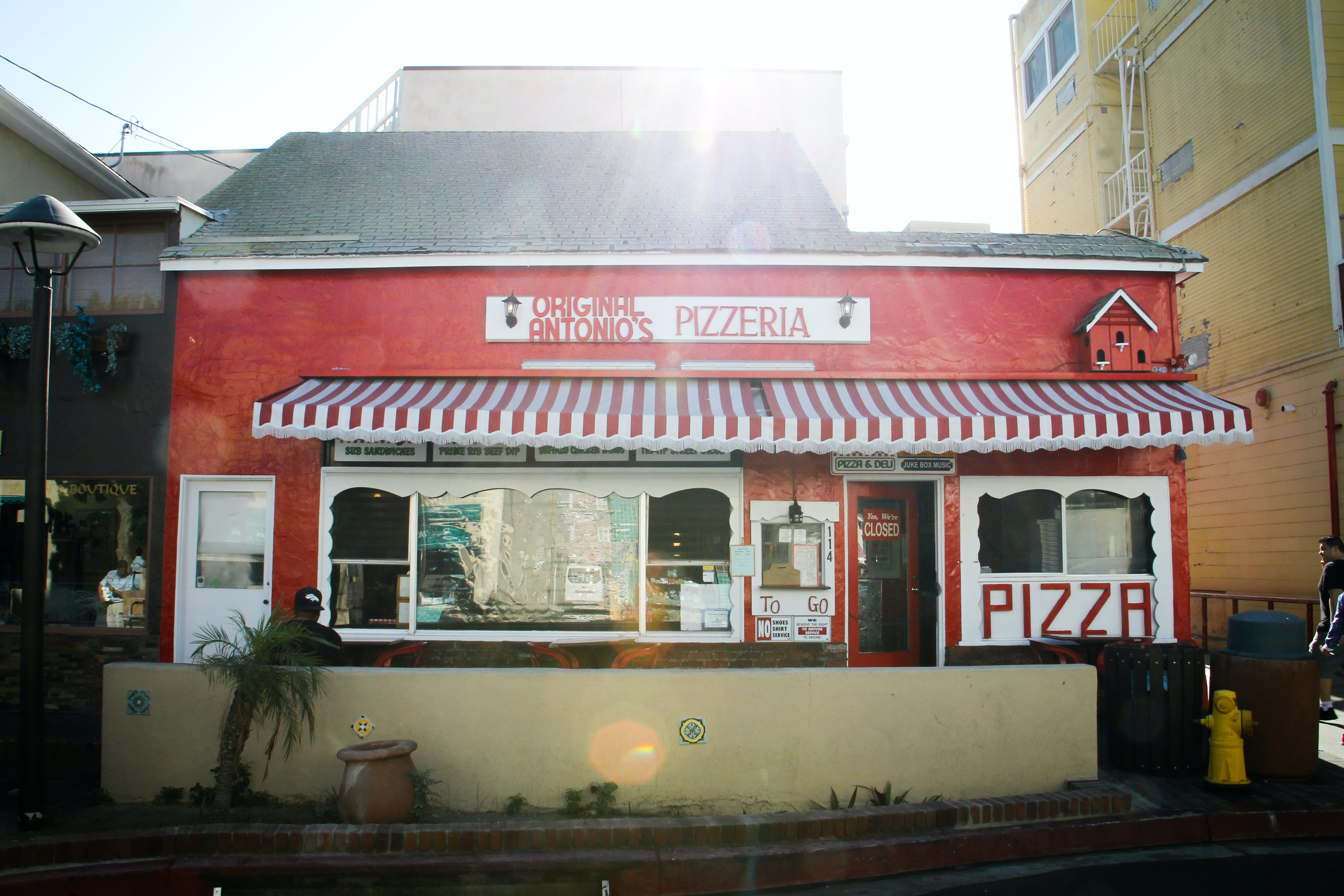 Red and White Pizzeria Cafe at Daytime