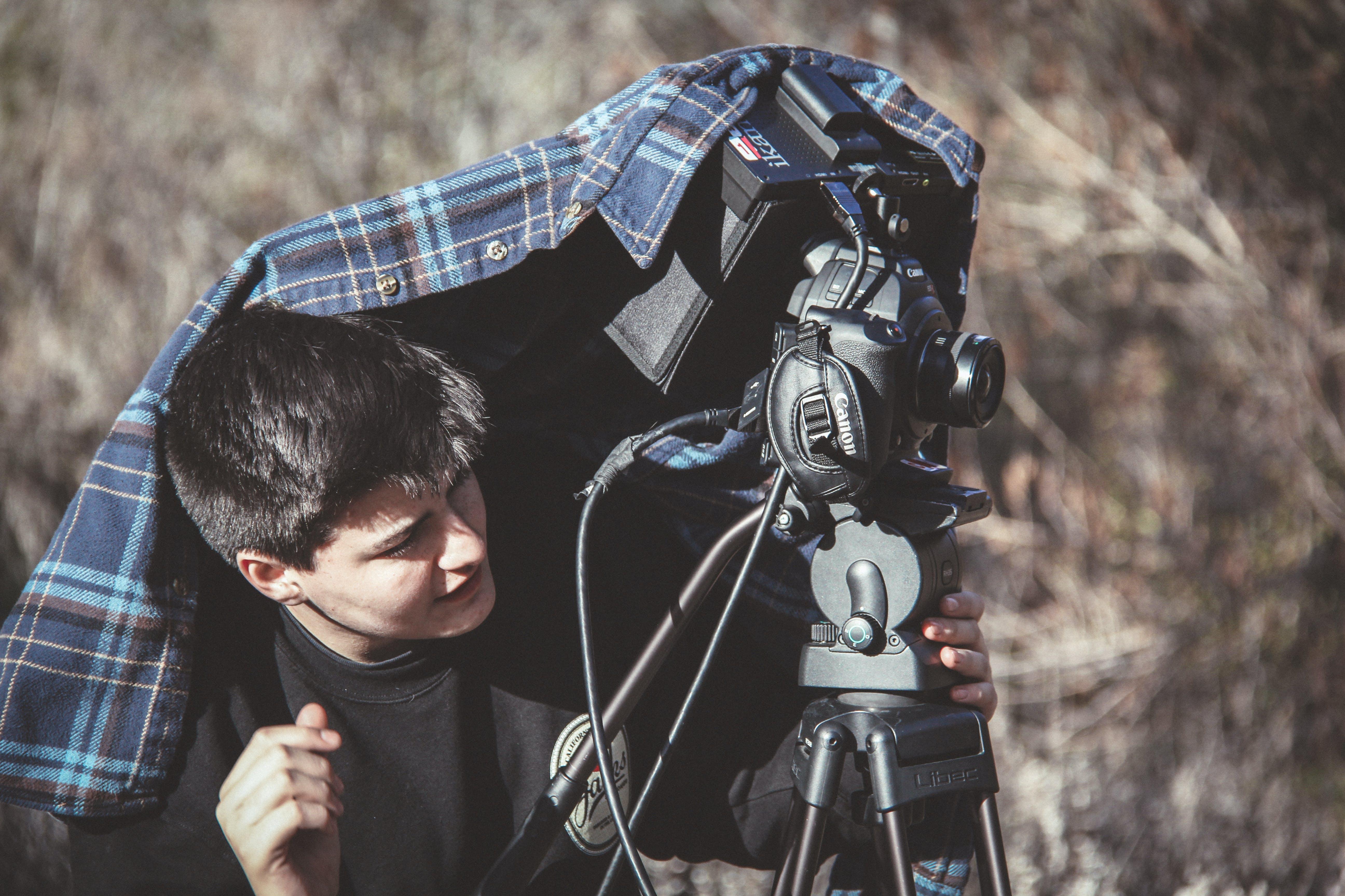 denní, fotoaparát, mladý