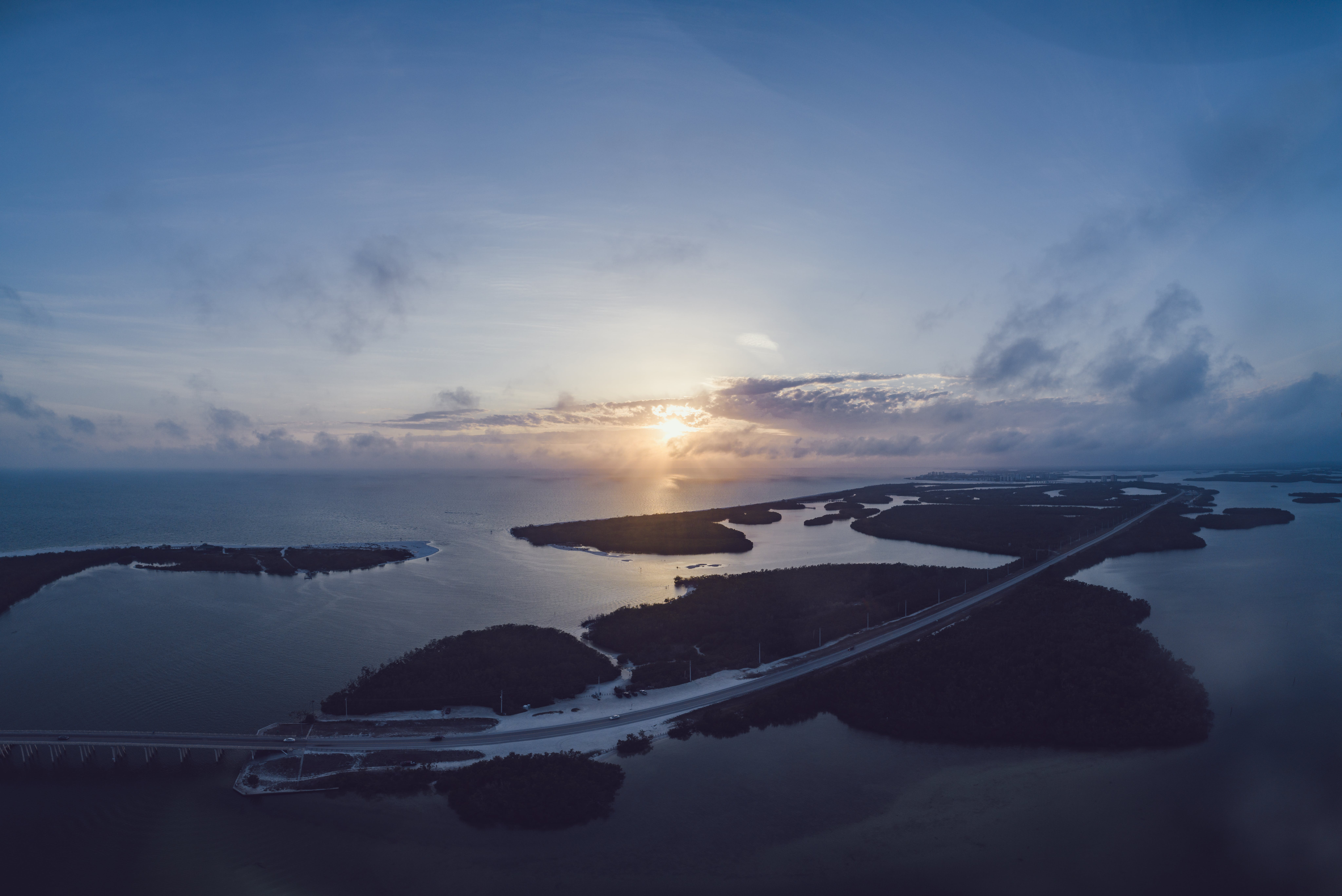 Aerial Photography of Island during Sunset