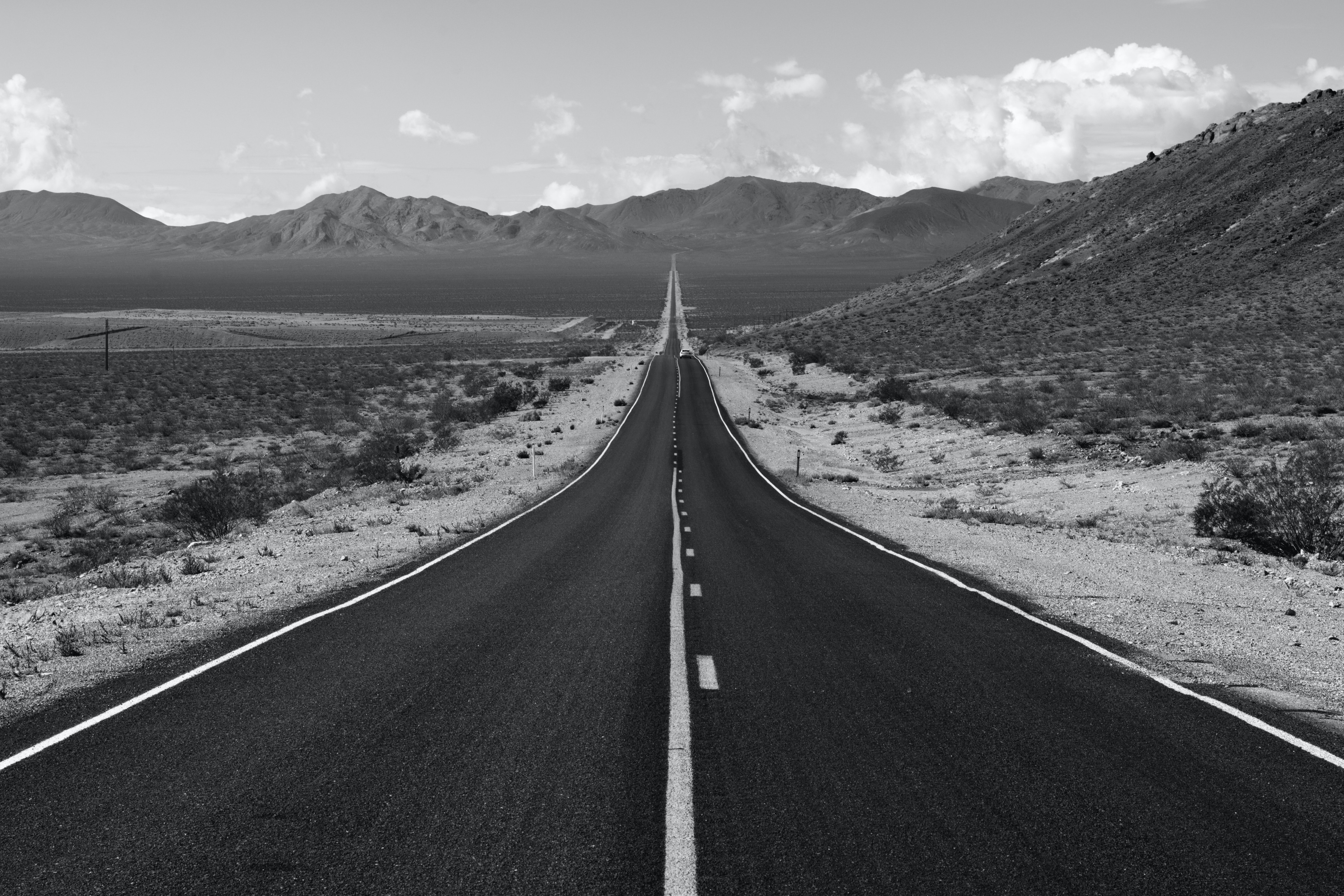 Grayscale Photo Of Road Free Stock Photo