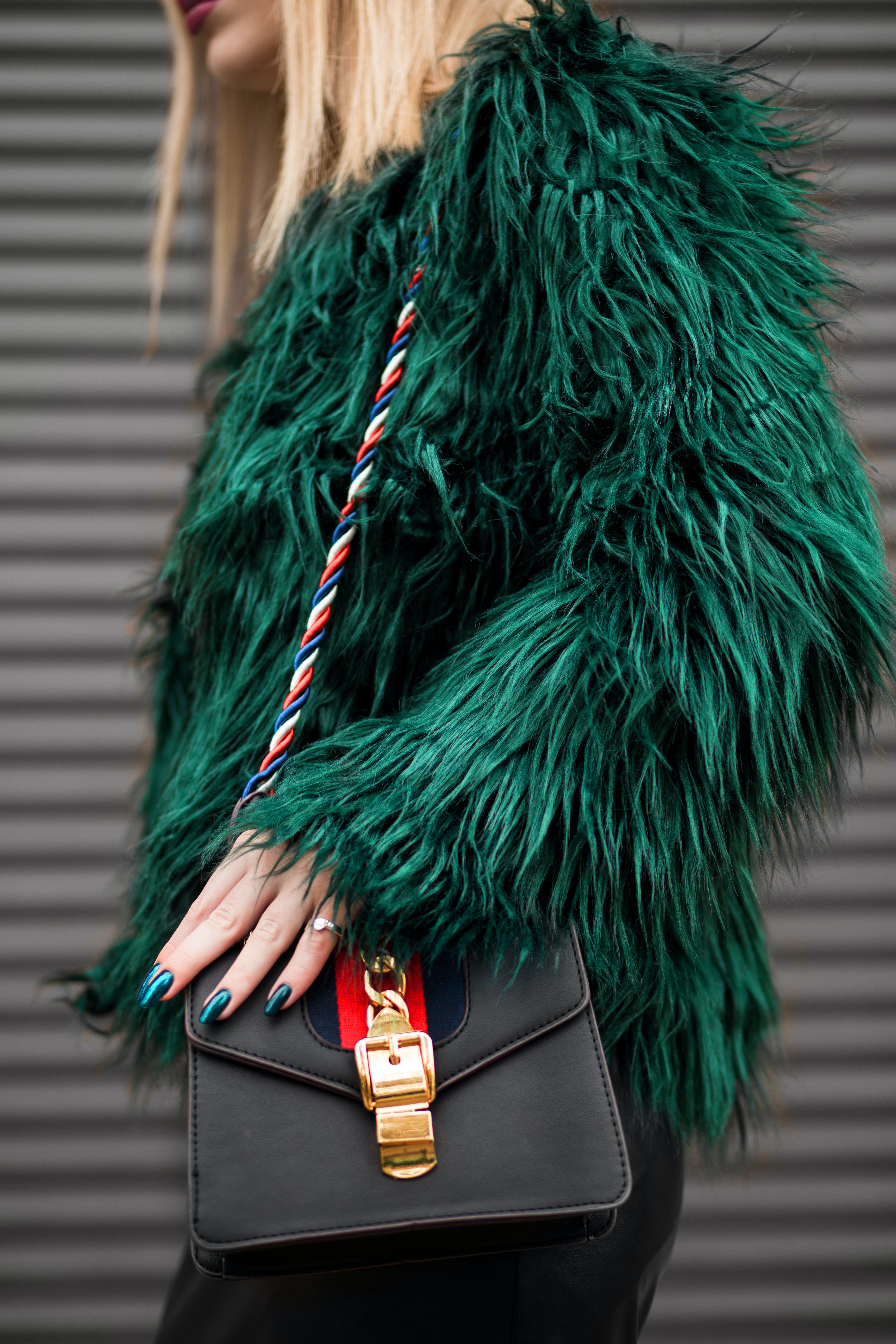 Woman Wearing Green Fur Jacket