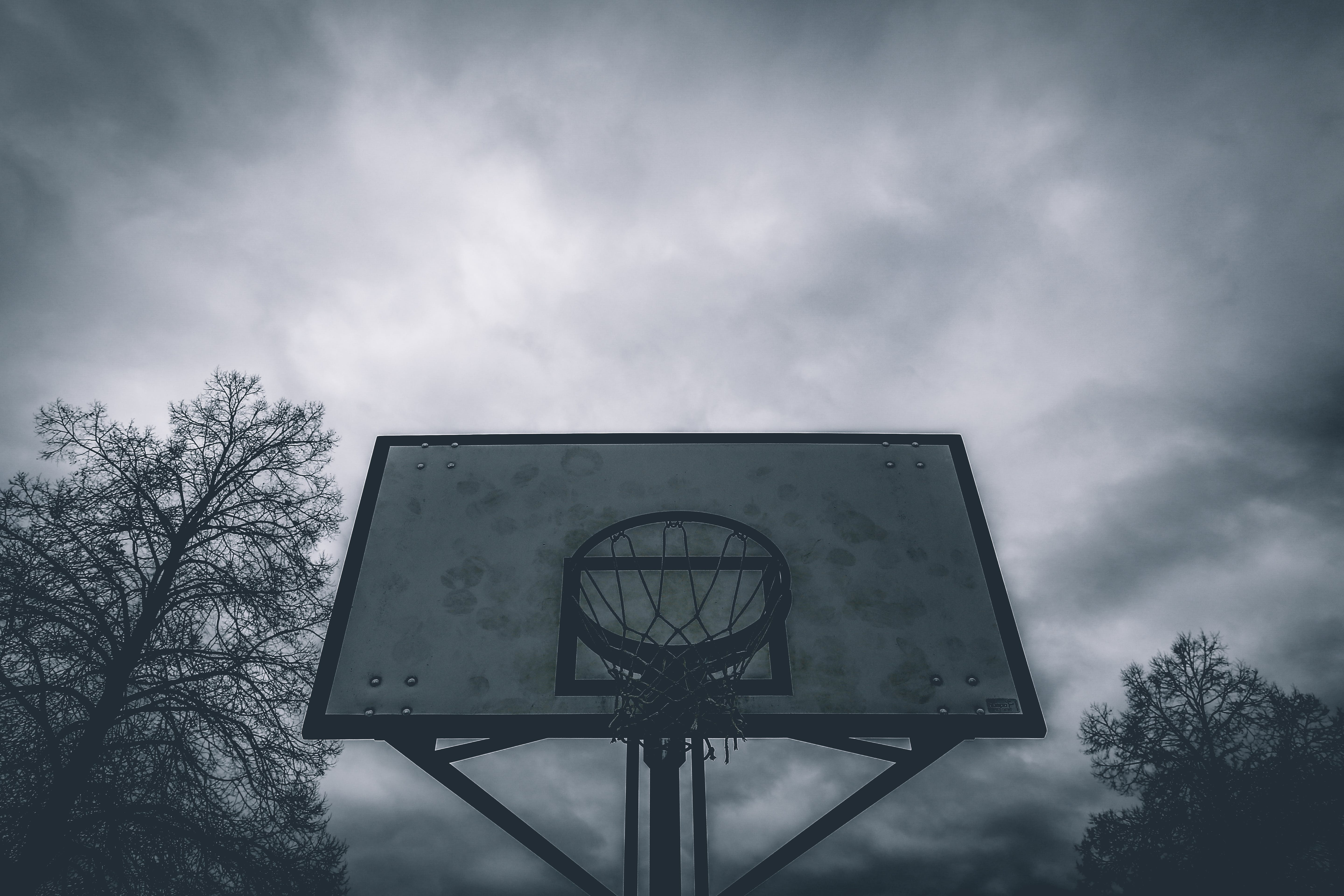 Silhouette Photo of Basketball Hoop