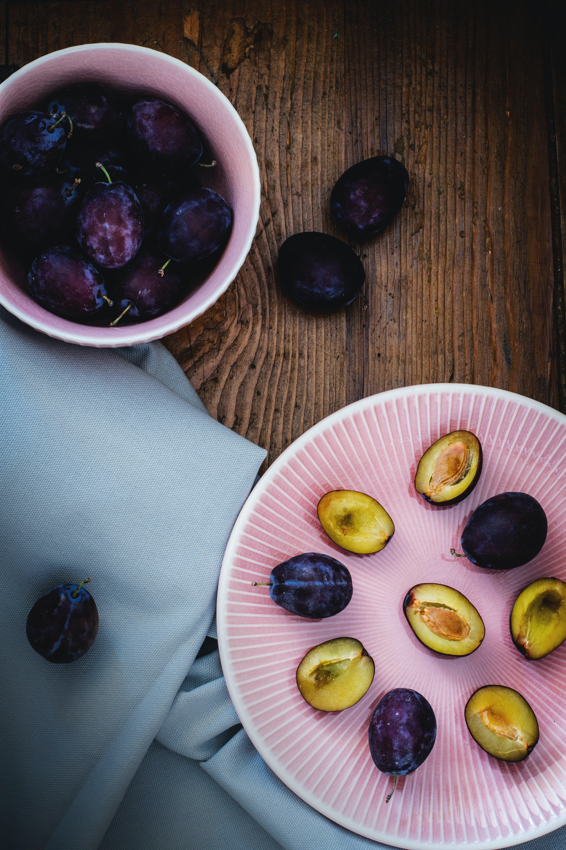 Sliced Fruits on Pink Ceramic Plate