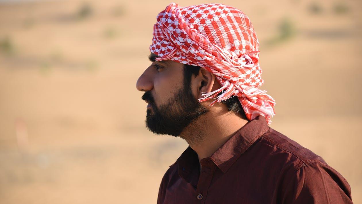 Man in Red Turban Tilt Shift Lens Photography