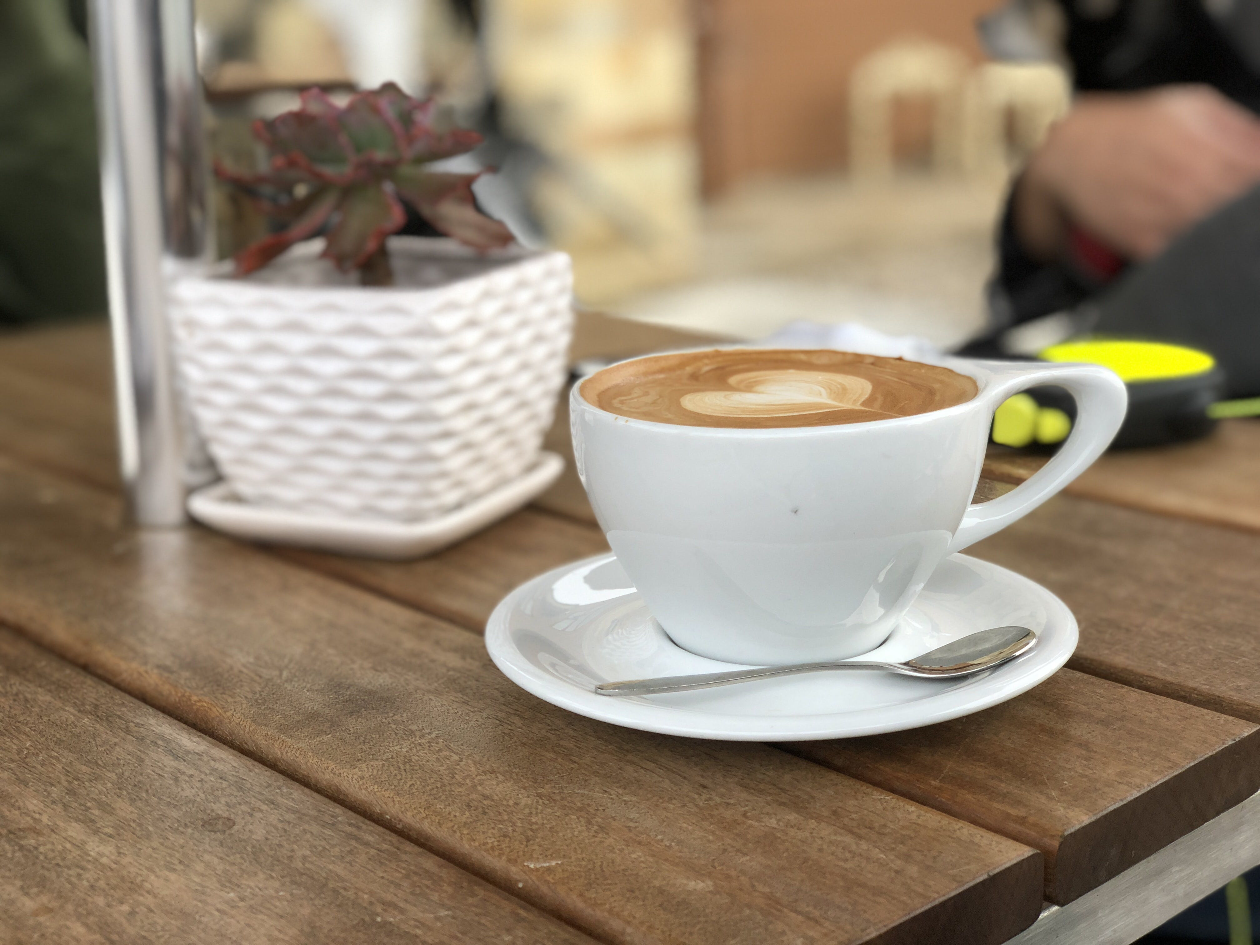 White Ceramic Coffee Mug With Saucer and Teaspoon