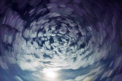 Free stock photo of abstract cloud trails, cloud spiral, cloudscape, moonlight