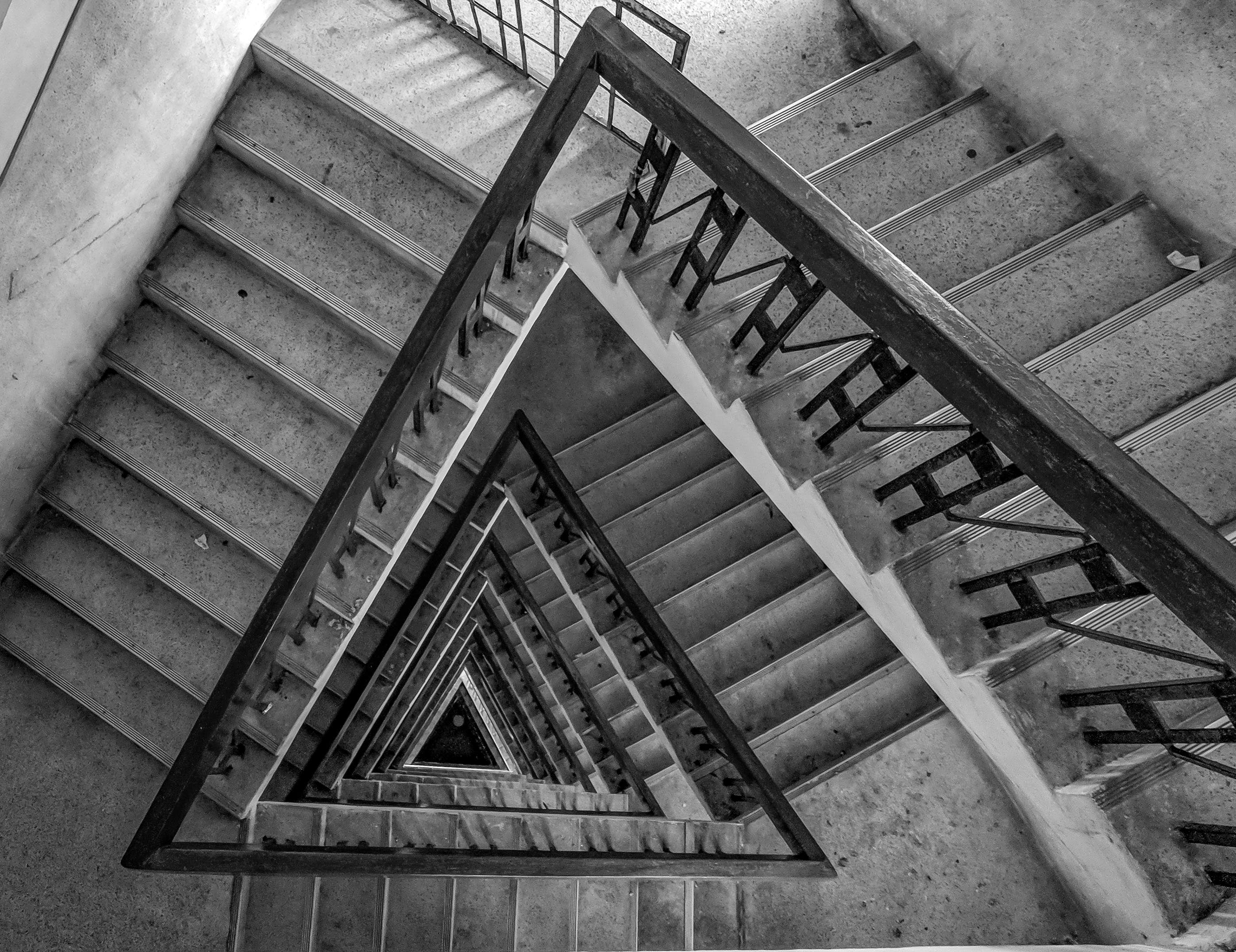 Multi-floor Stairs Grayscale Photo